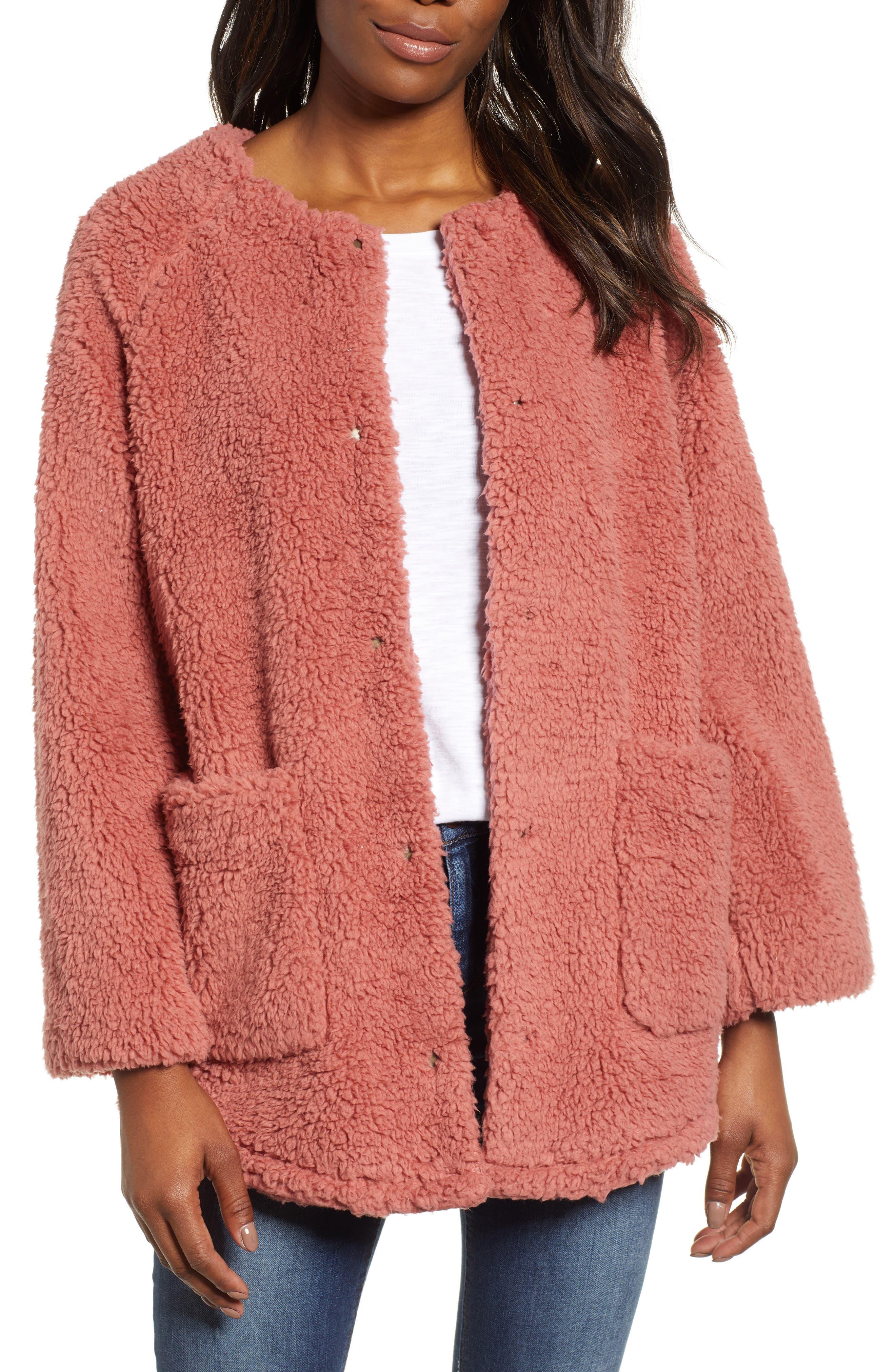 Caslon Fuzzy Fleece Jacket, Pink