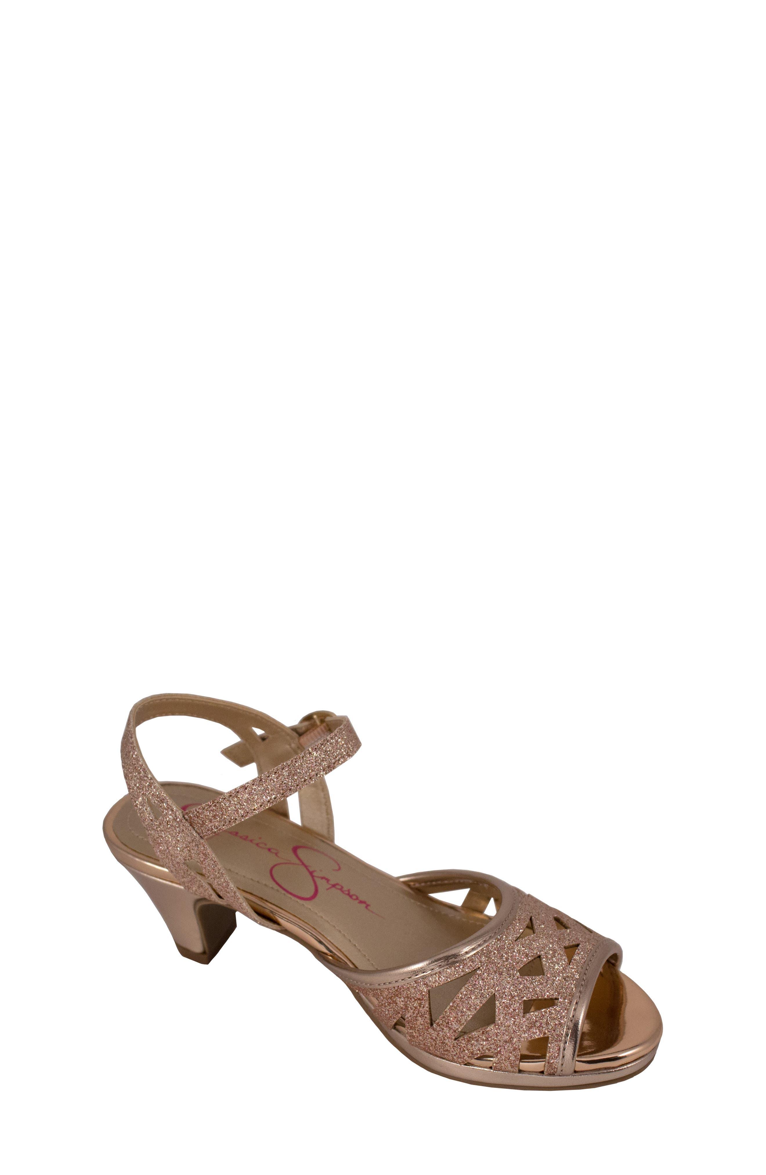 JESSICA SIMPSON,                             Glitter Sandal,                             Main thumbnail 1, color,                             ROSE GOLD