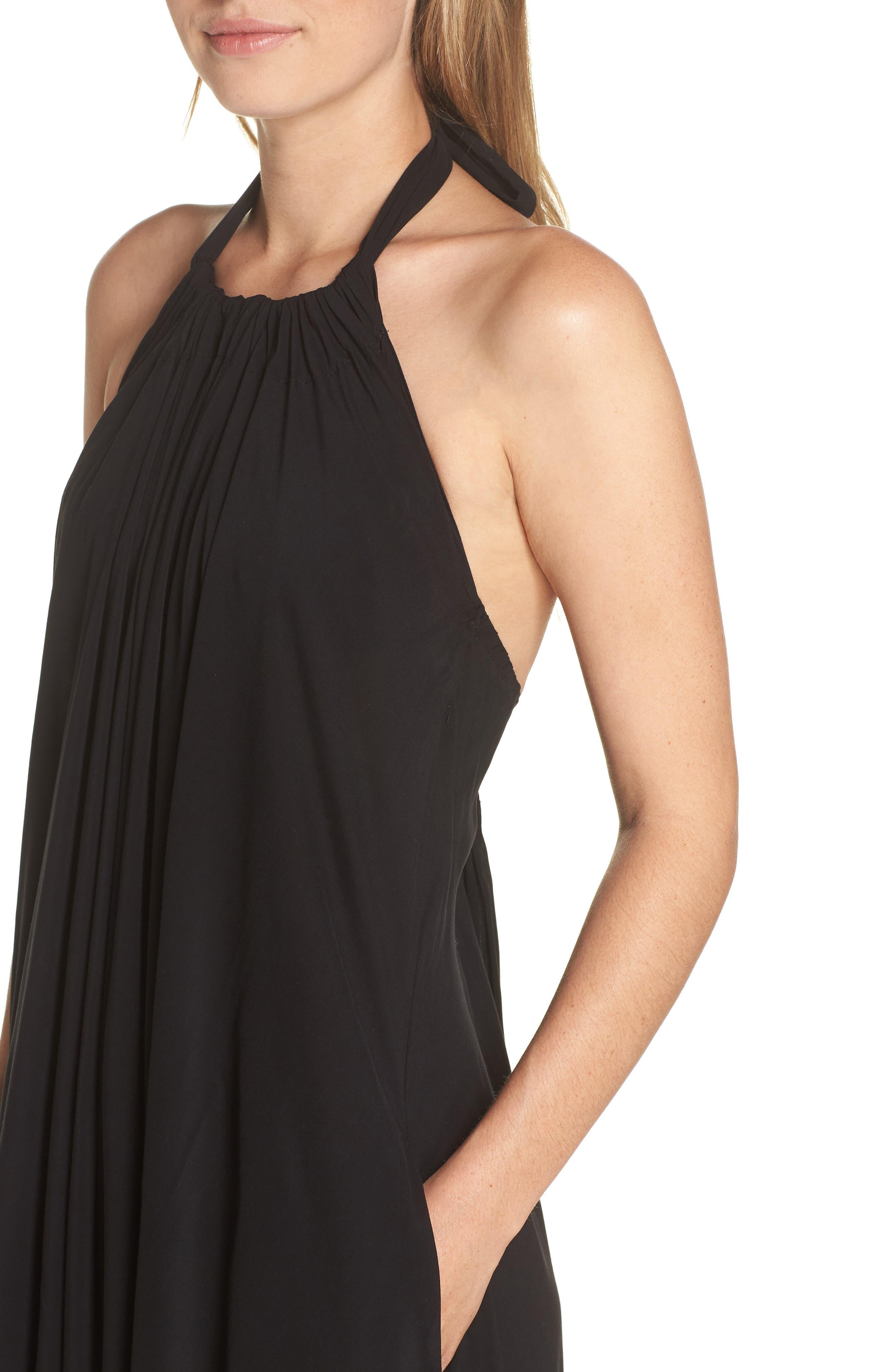 Cover-Up Maxi Dress,                             Alternate thumbnail 4, color,                             BLACK
