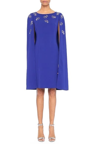 Embellished Classic Stretch Cady Cape Dress, video thumbnail