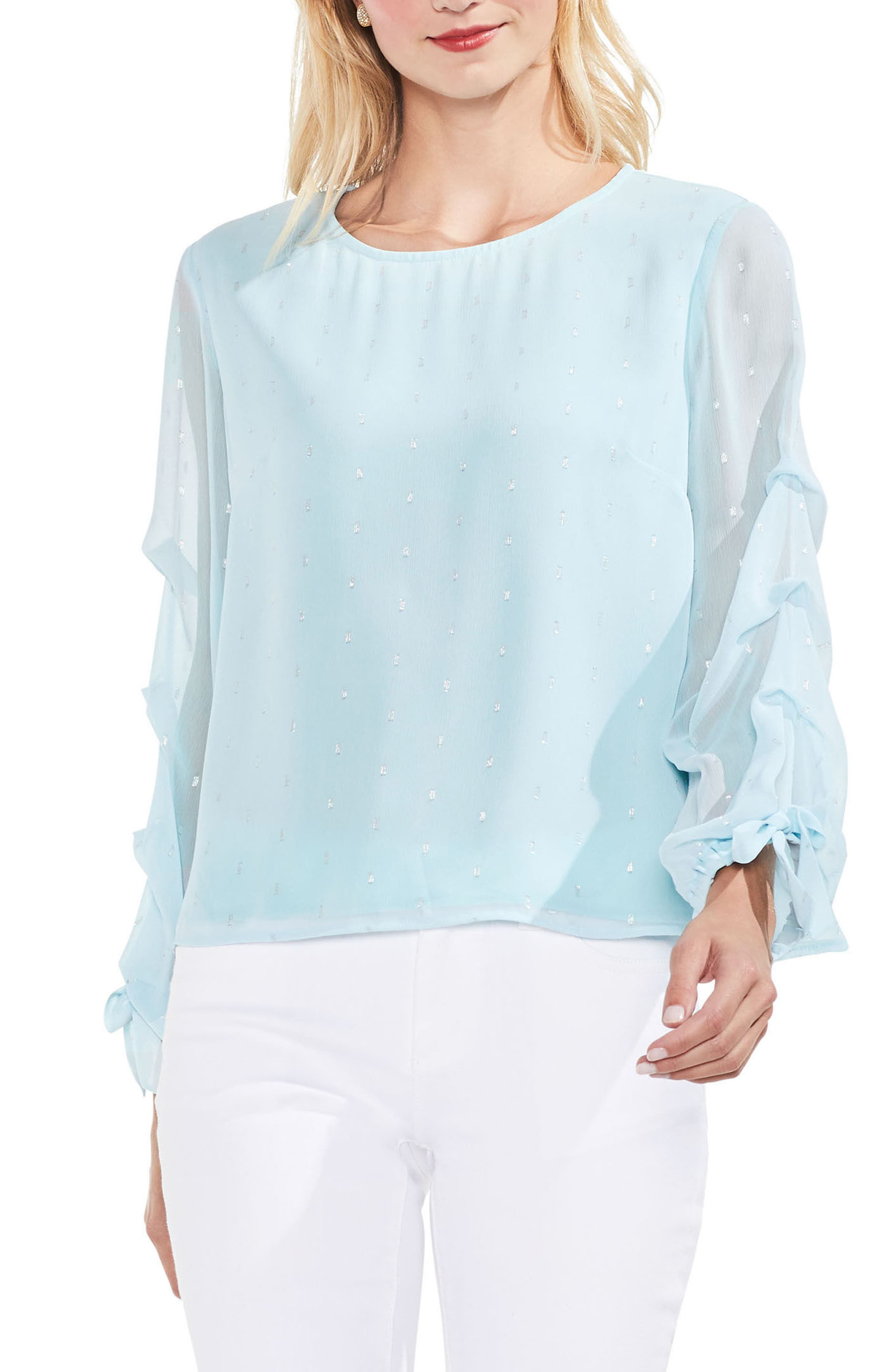 Tiered Sleeve Metallic Clip Dot Blouse,                             Main thumbnail 2, color,