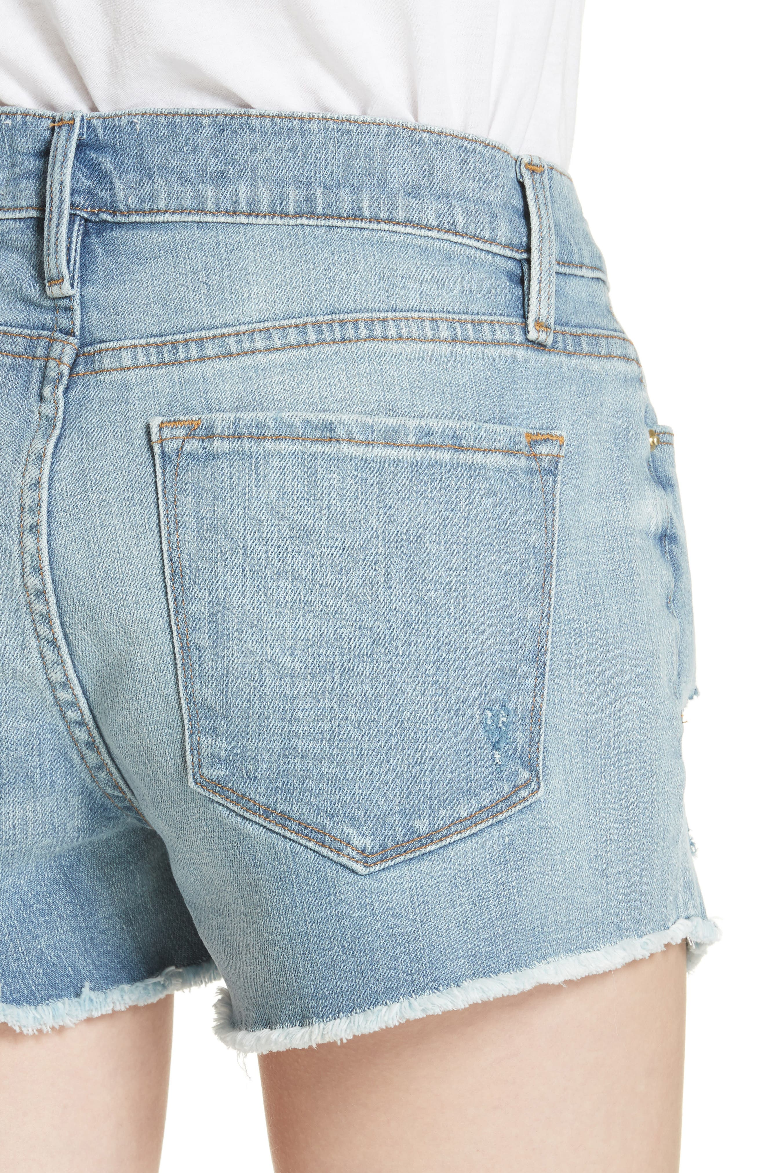 Le Cutoff Denim Shorts,                             Alternate thumbnail 4, color,                             TAFFORD