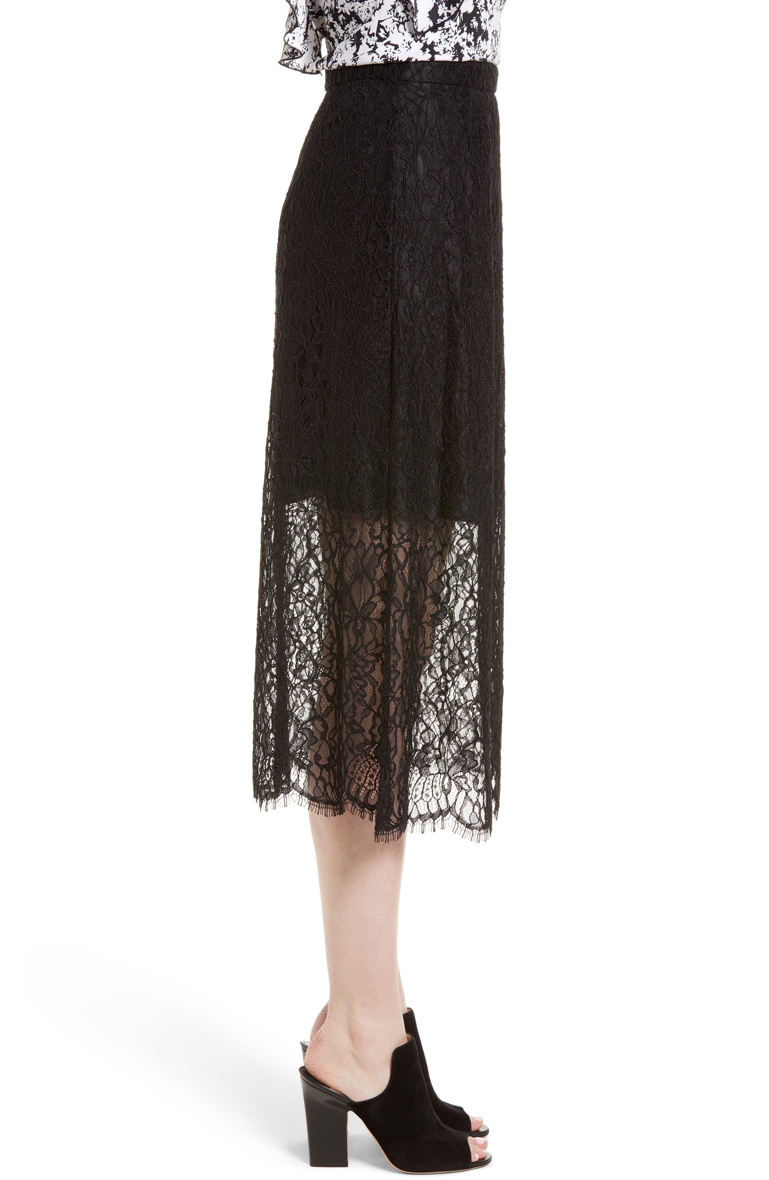 Lace Midi Skirt,                             Alternate thumbnail 3, color,