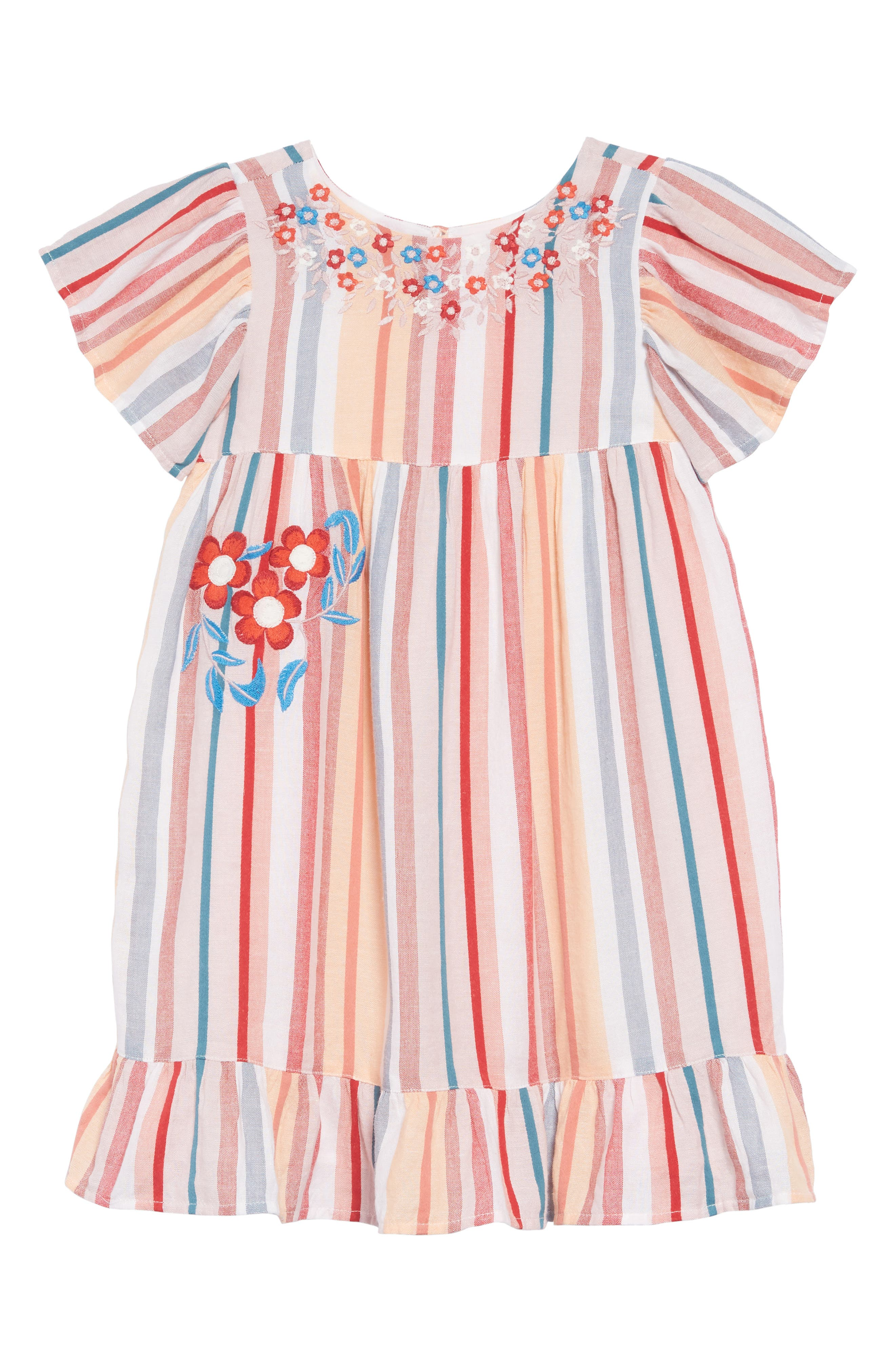 Embroidered Stripe Dress,                             Main thumbnail 1, color,                             IVORY EGRET MULTI STRIPE