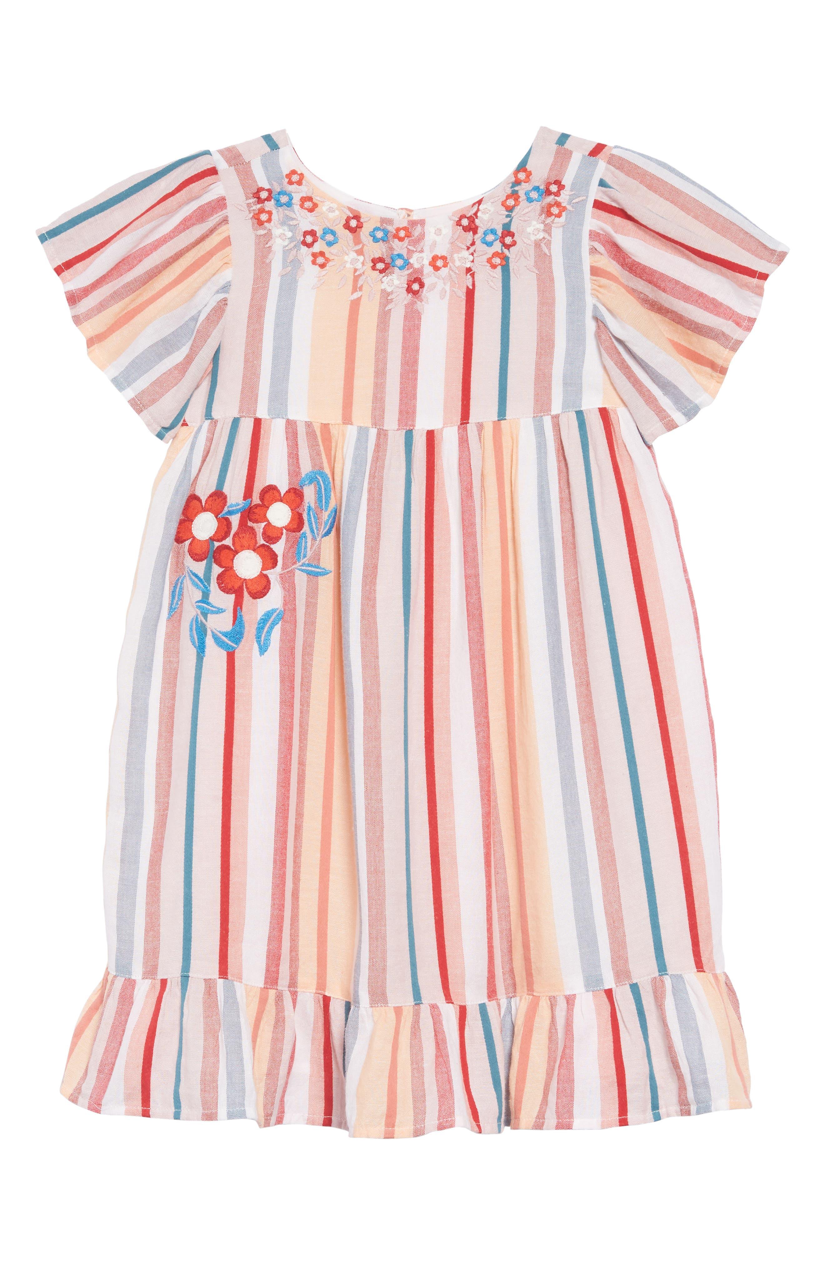 Embroidered Stripe Dress,                         Main,                         color, IVORY EGRET MULTI STRIPE