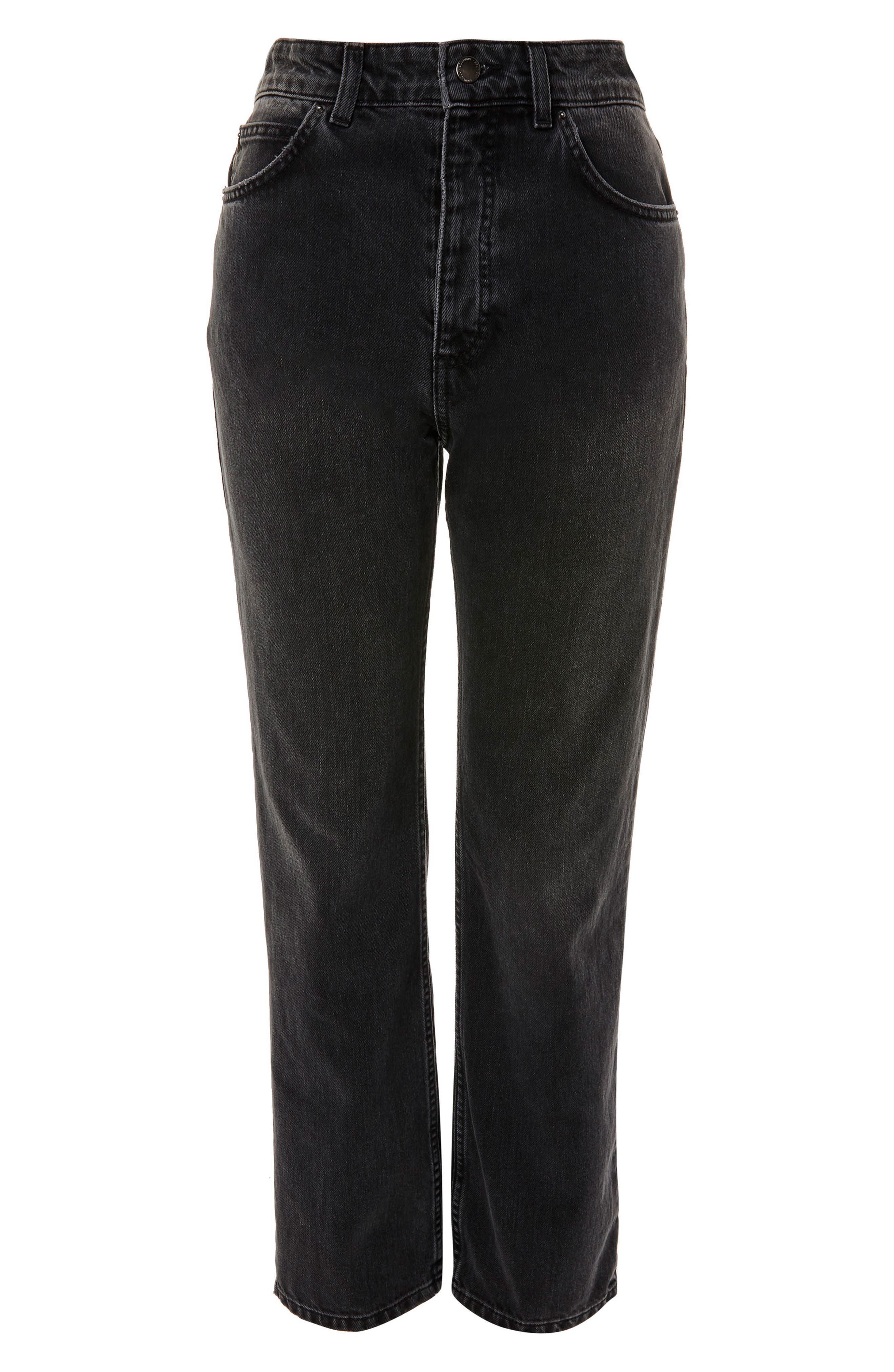 Washed Black Moto Straight Leg Jeans, Main, color, 003