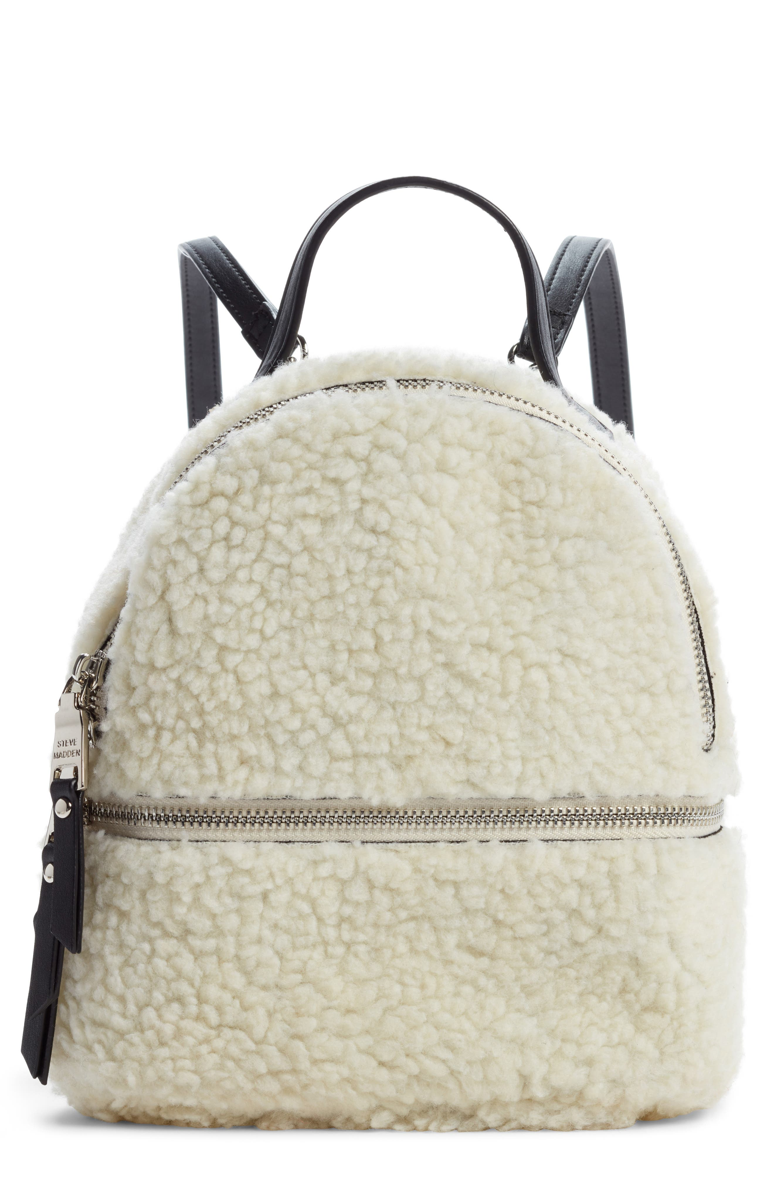 Steve Madden Mini Faux Fur Convertible Backpack -