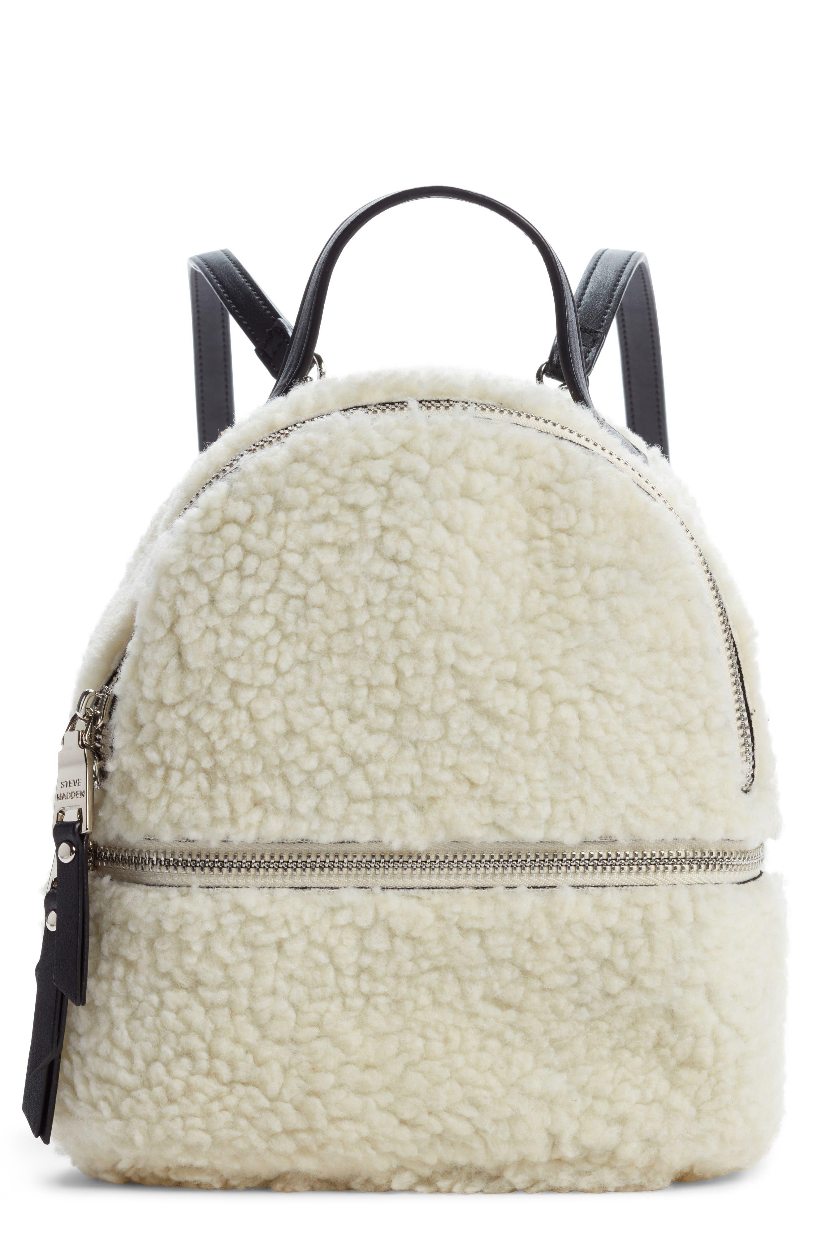 Mini Faux Fur Convertible Backpack,                             Main thumbnail 1, color,                             NATURAL
