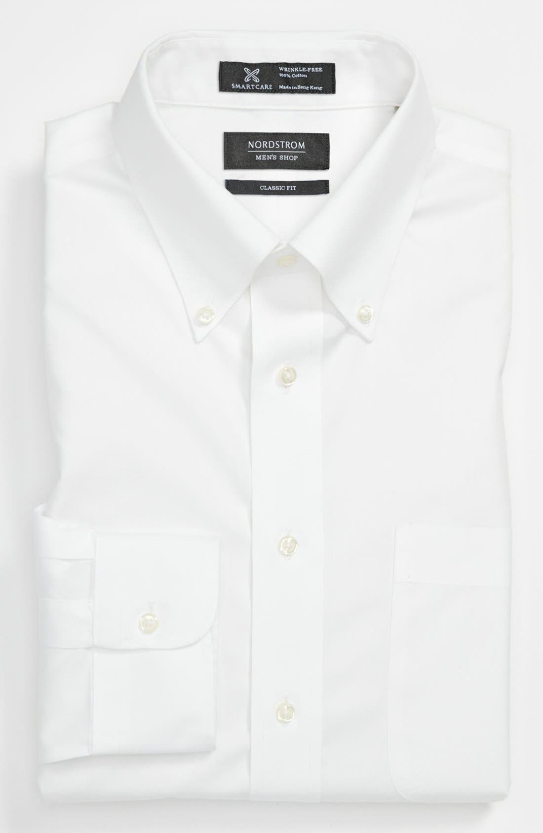 Smartcare<sup>™</sup> Classic Fit Pinpoint Dress Shirt,                             Main thumbnail 1, color,                             WHITE