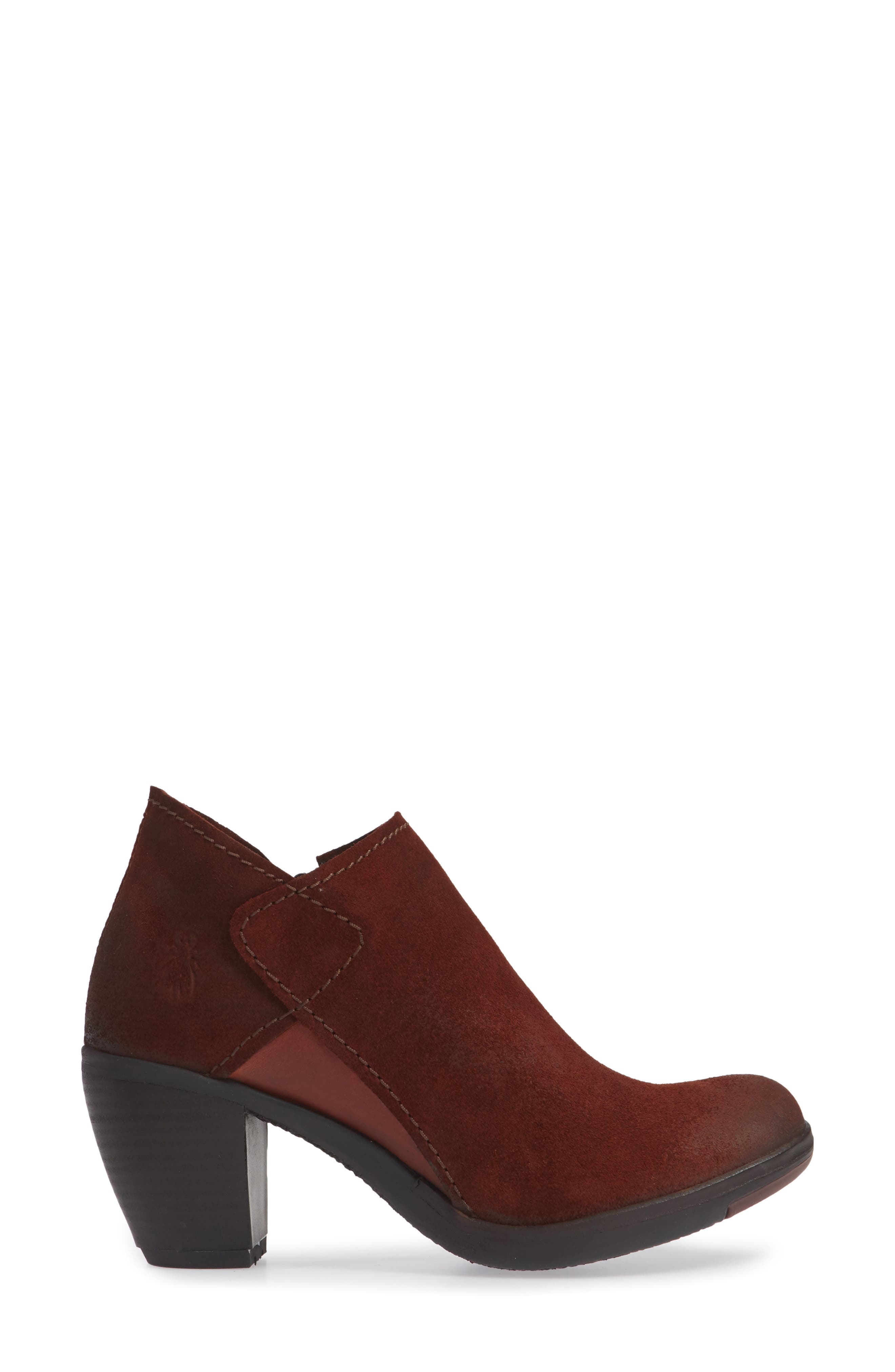 FLY LONDON,                             Hace Bootie,                             Alternate thumbnail 3, color,                             BRICK OIL SUEDE