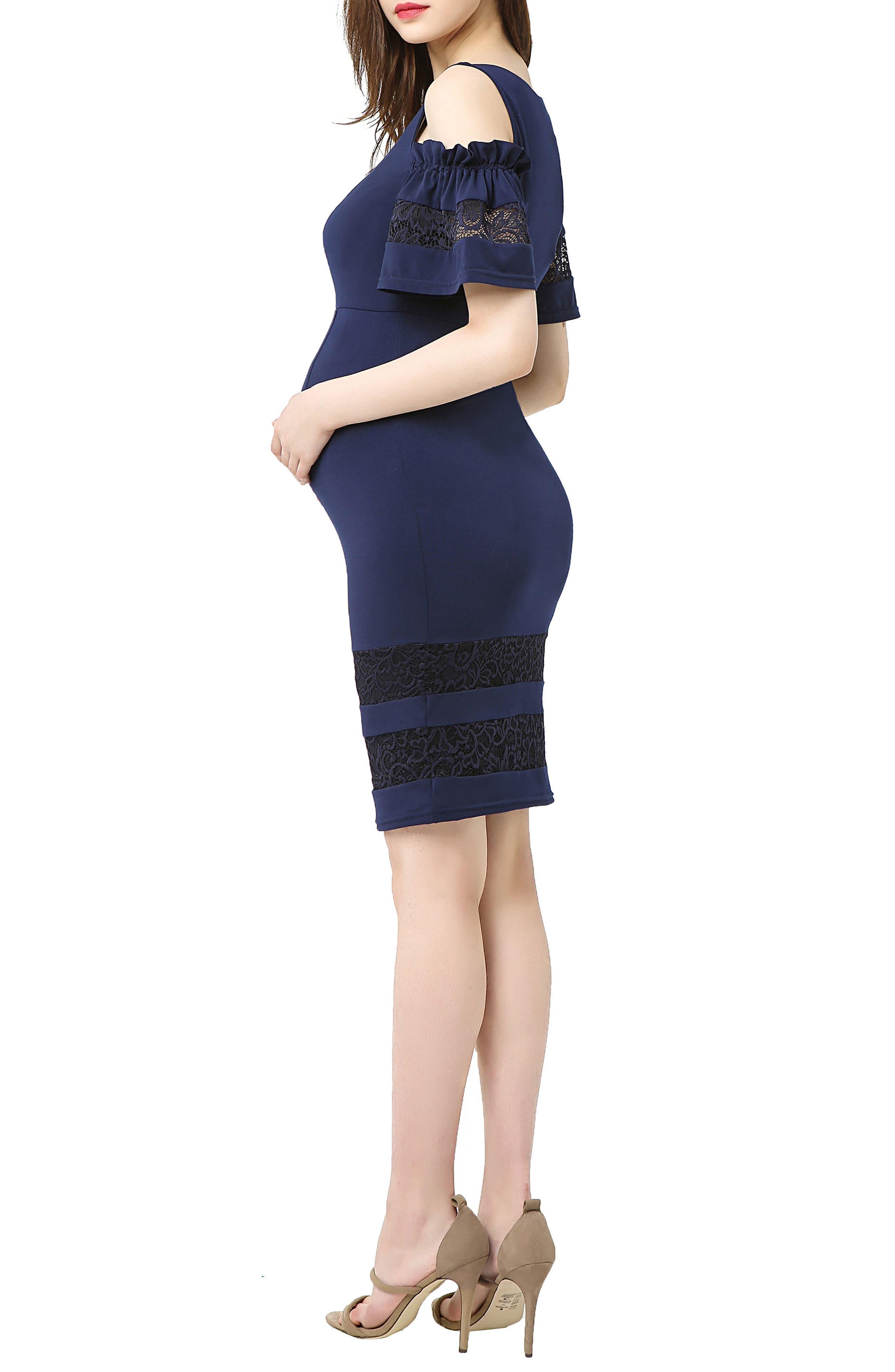 Marissa Cold Shoulder Maternity Sheath Dress,                             Alternate thumbnail 3, color,                             NAVY