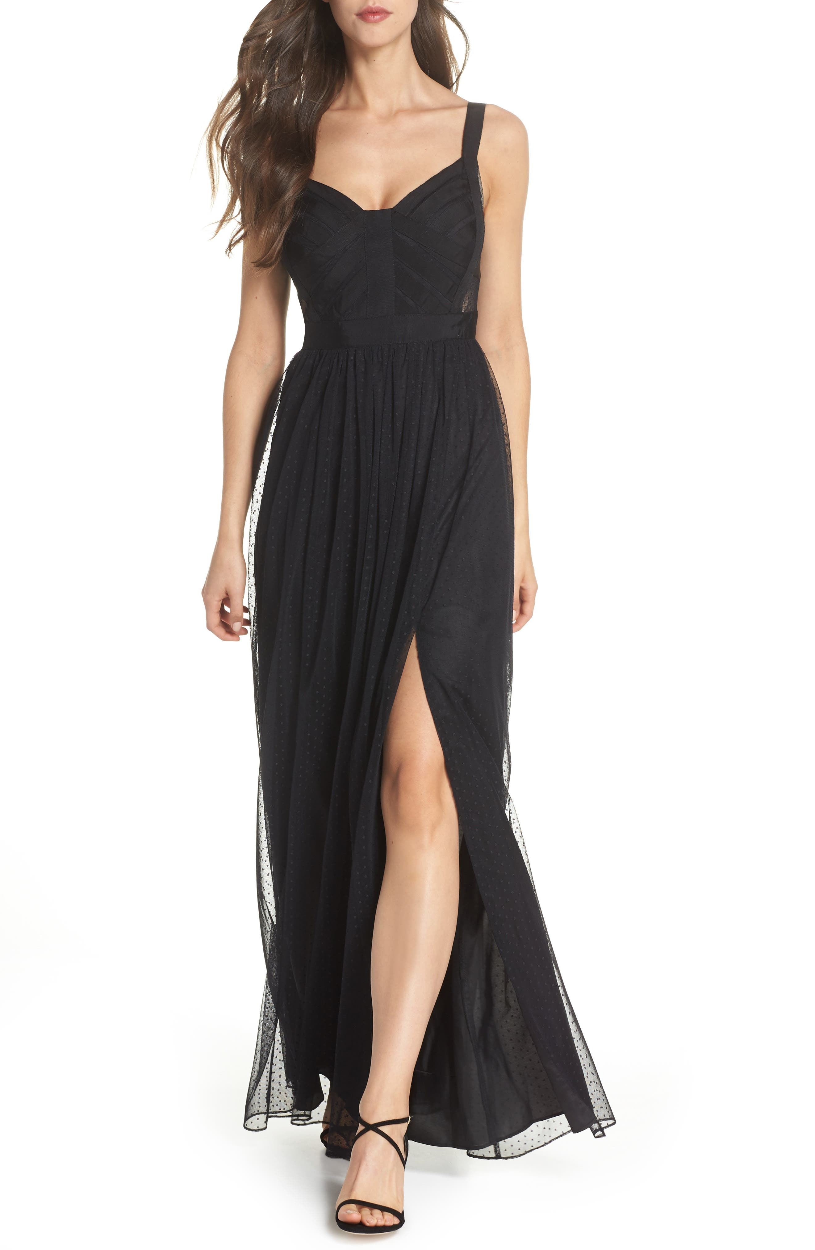 Ribbon Bodice Point d'Esprit Gown,                             Main thumbnail 1, color,                             002