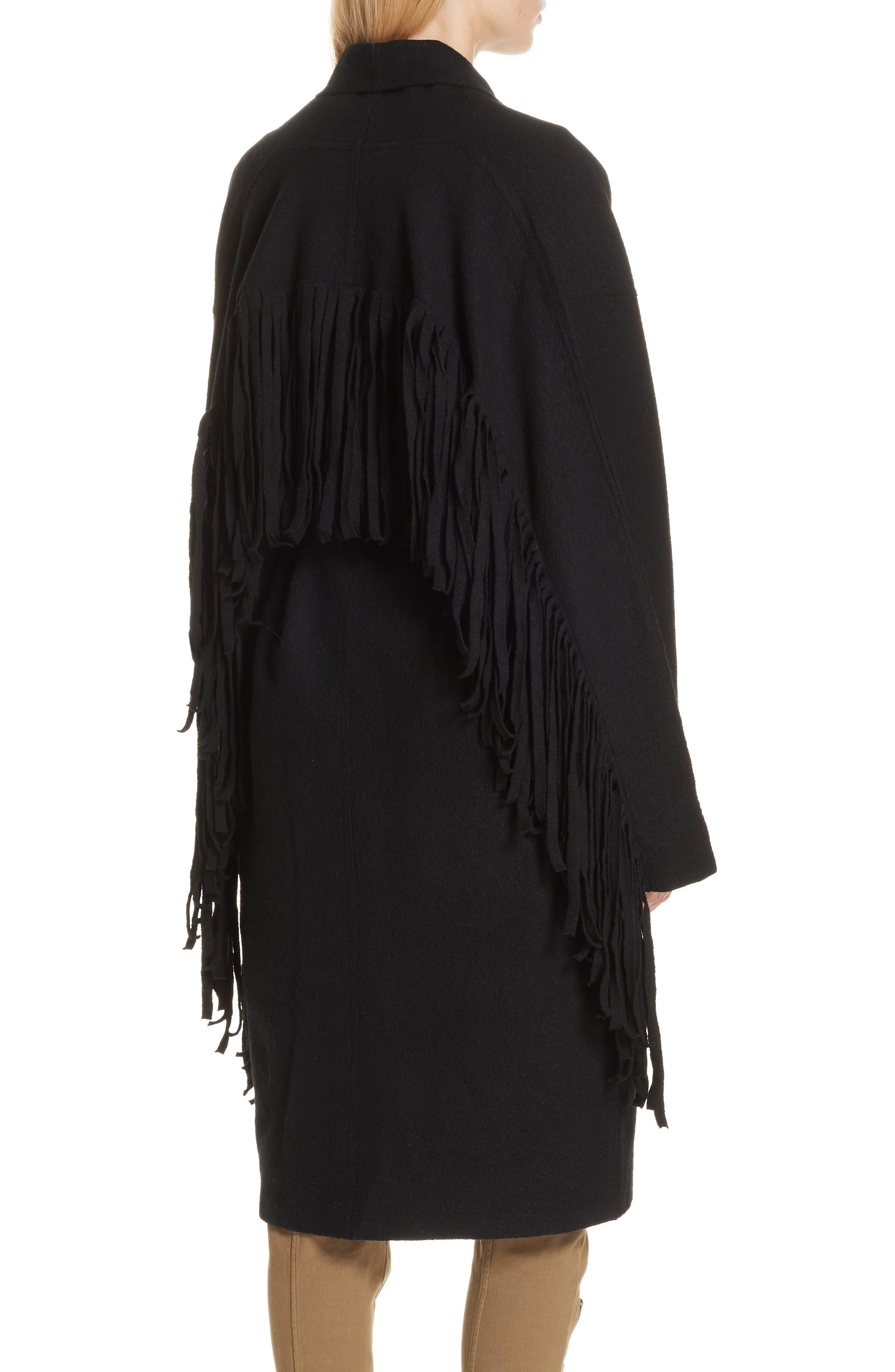 Fringe Detail Boiled Wool & Cashmere Wrap Coat,                             Alternate thumbnail 2, color,                             BLACK