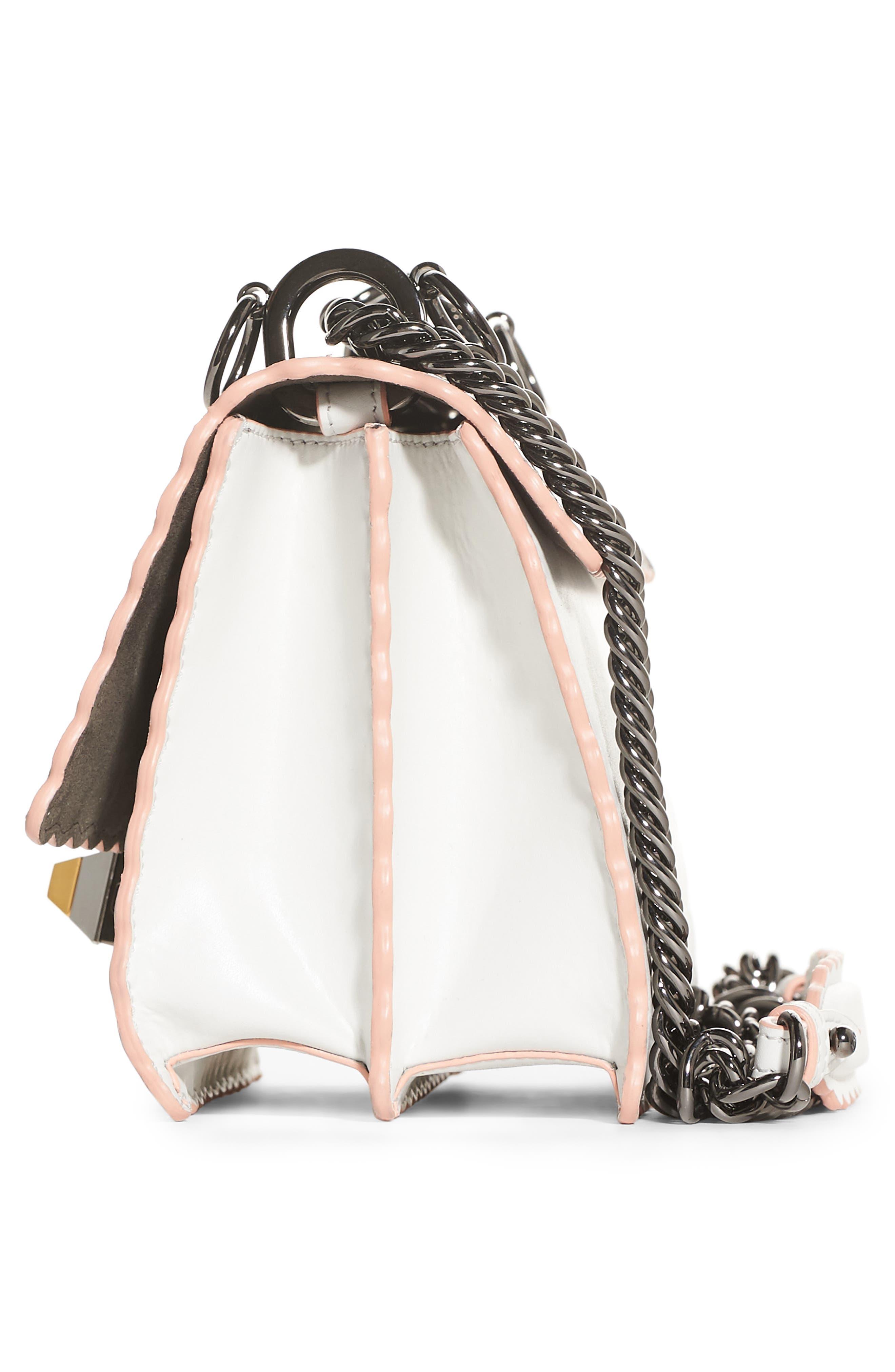 Mini Kan Scallop Genuine Snakeskin & Leather Shoulder Bag,                             Alternate thumbnail 4, color,                             TAUPE/ROMARO/WHITE