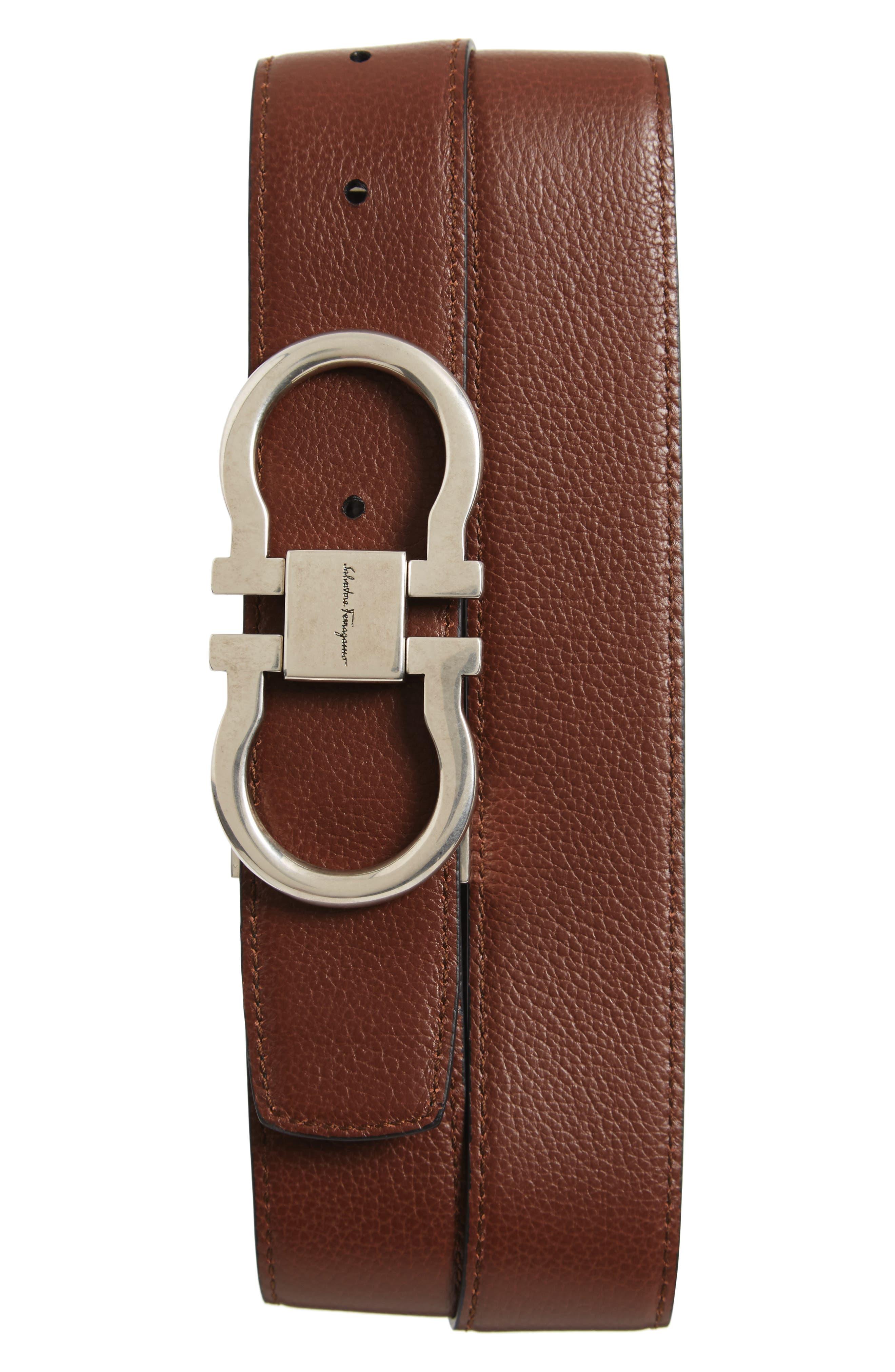 Double Gancini Reversible Leather Belt,                             Alternate thumbnail 2, color,                             007