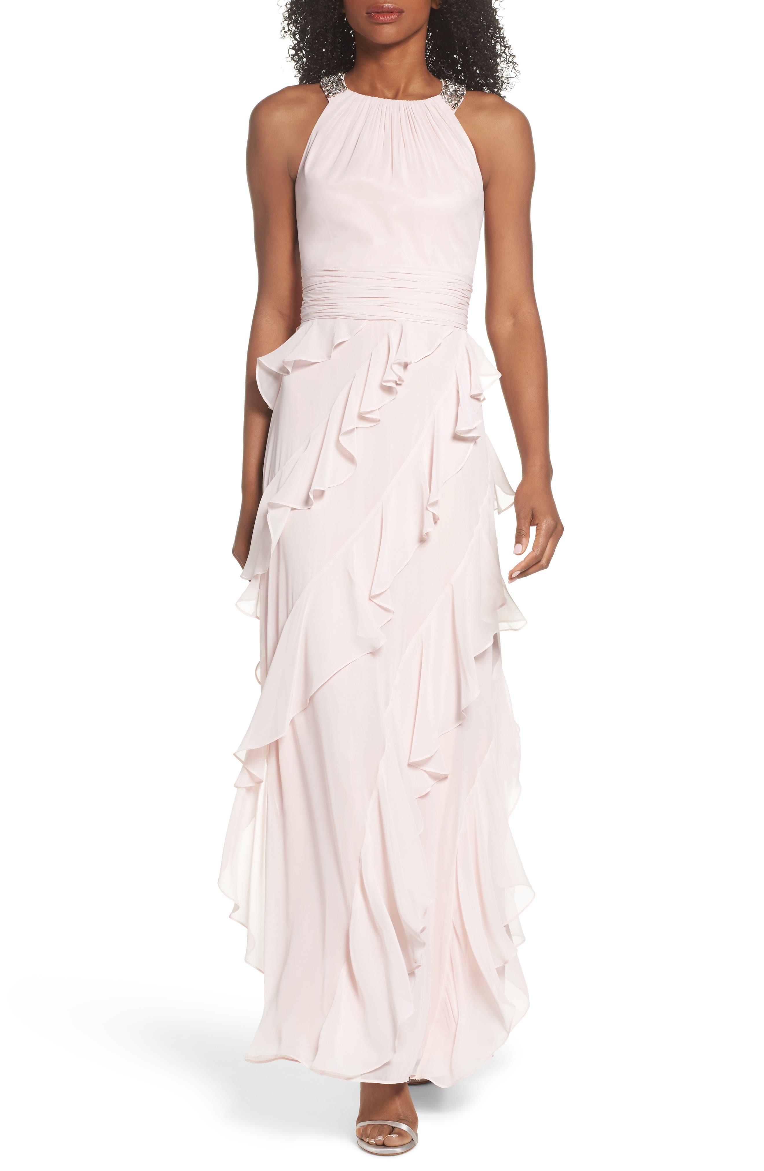 ELIZA J,                             Embellished Ruffle Chiffon Gown,                             Main thumbnail 1, color,                             684