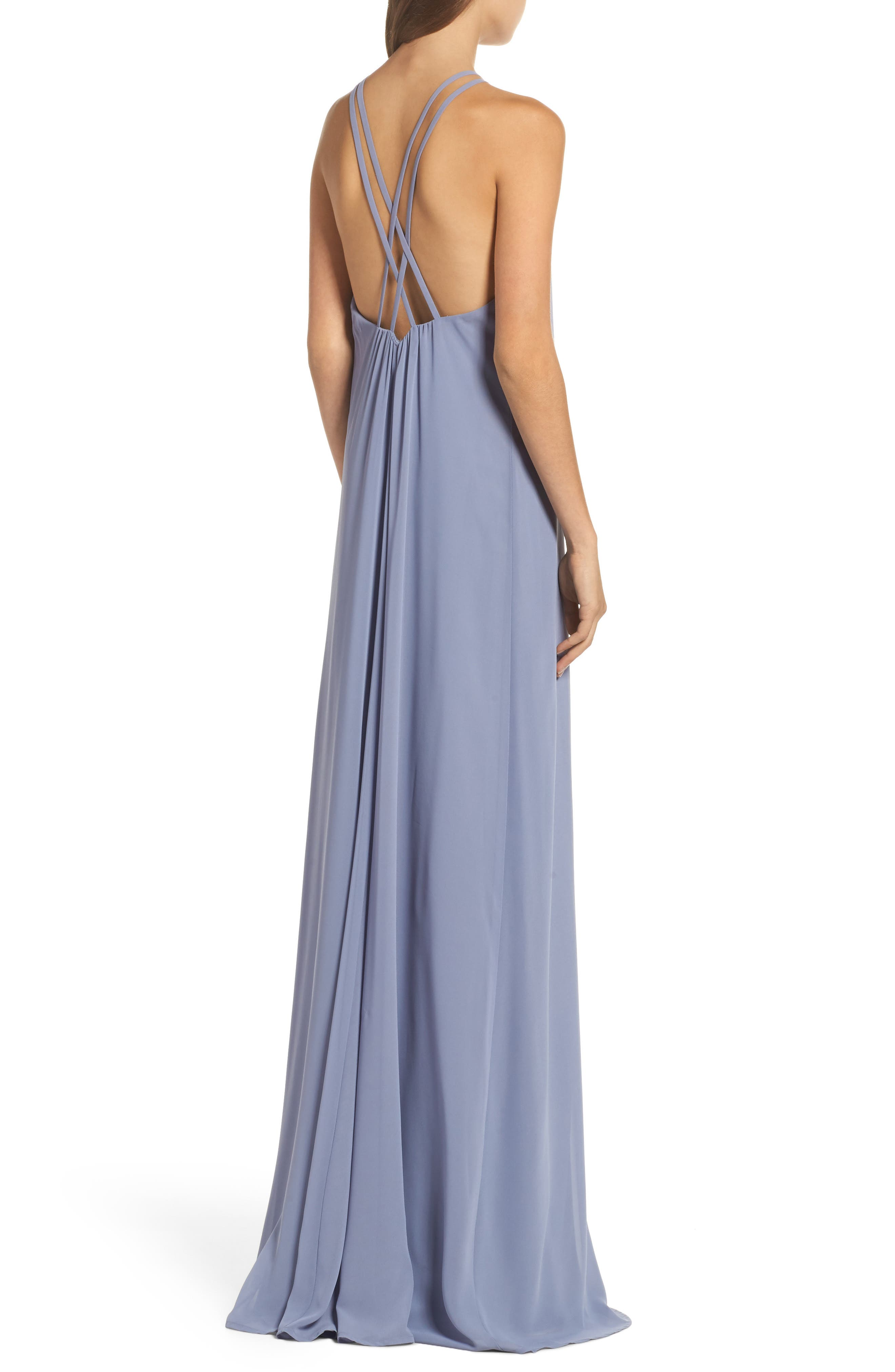 Strappy High Neck Chiffon Gown,                             Alternate thumbnail 2, color,                             020