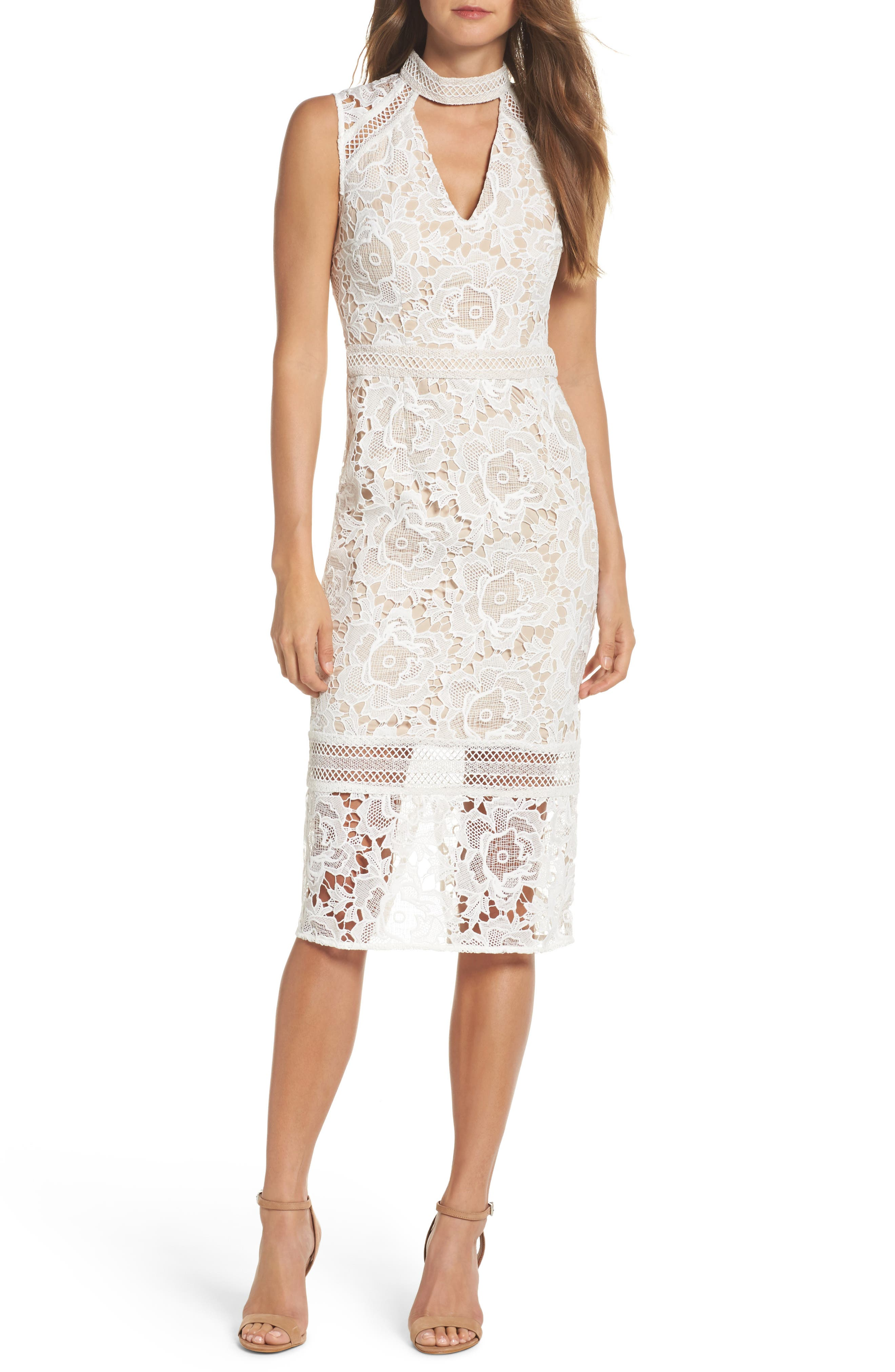 Alessandra Lace Choker Midi Dress,                         Main,                         color, 100