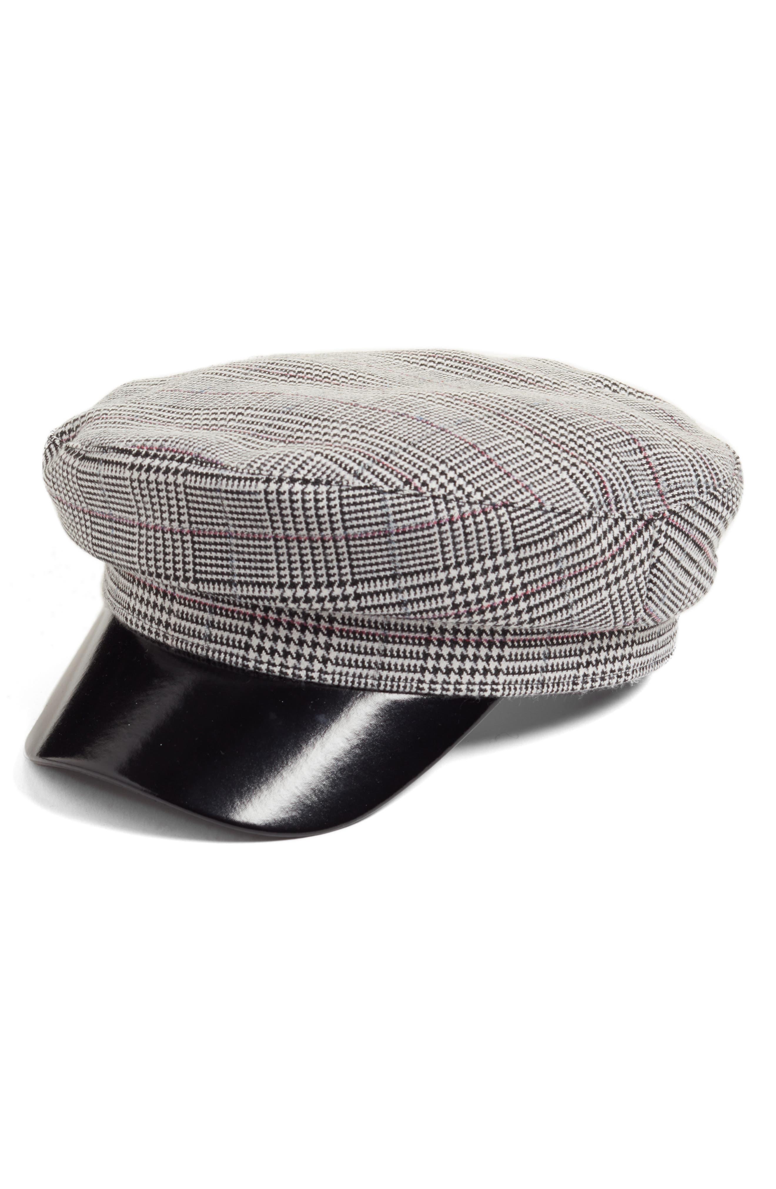Faux Leather & Glen Plaid Baker Boy Hat,                         Main,                         color, 001