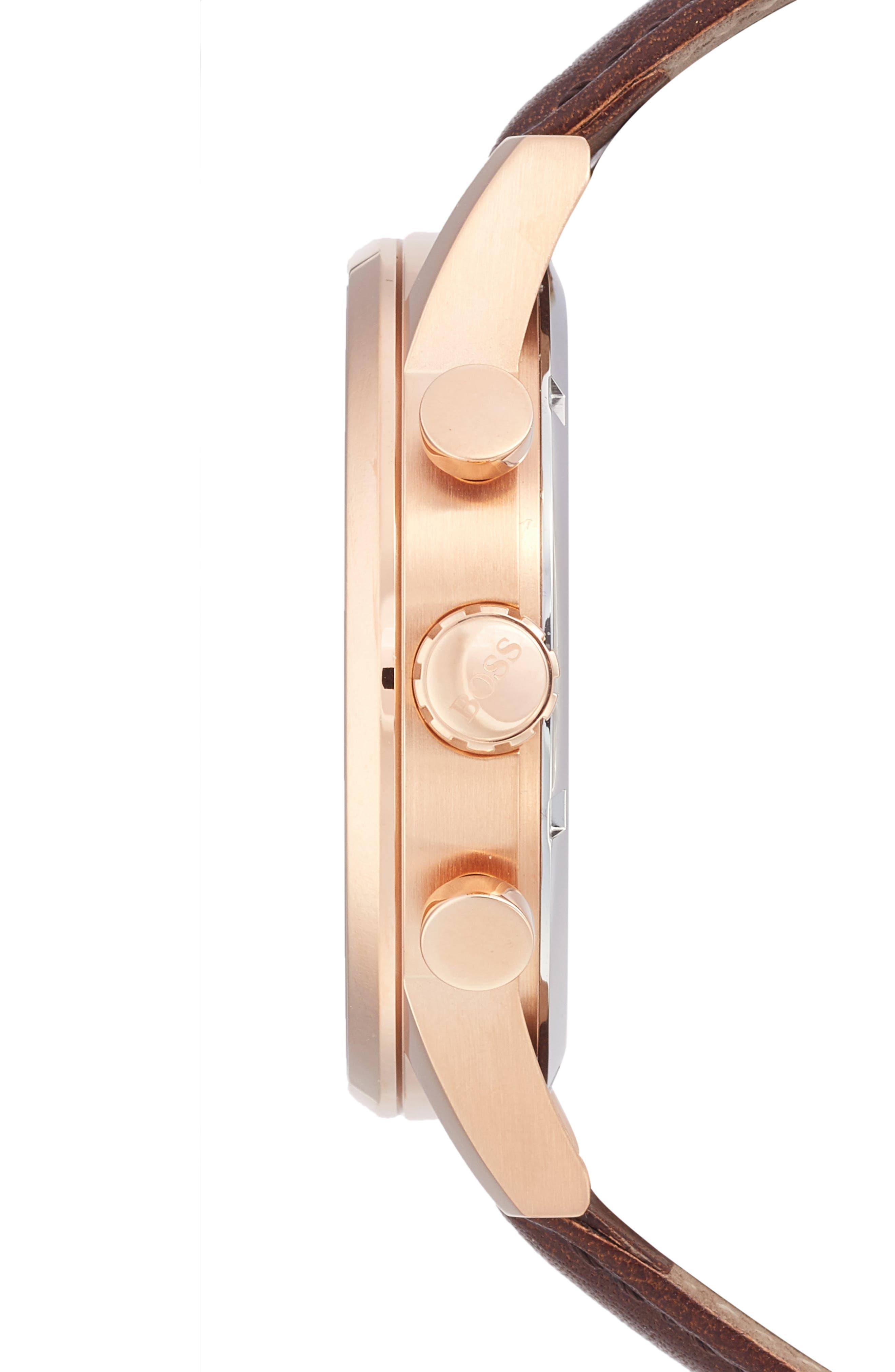 BOSS,                             Navigator Chronograph Leather Strap Watch, 44mm,                             Alternate thumbnail 3, color,                             200