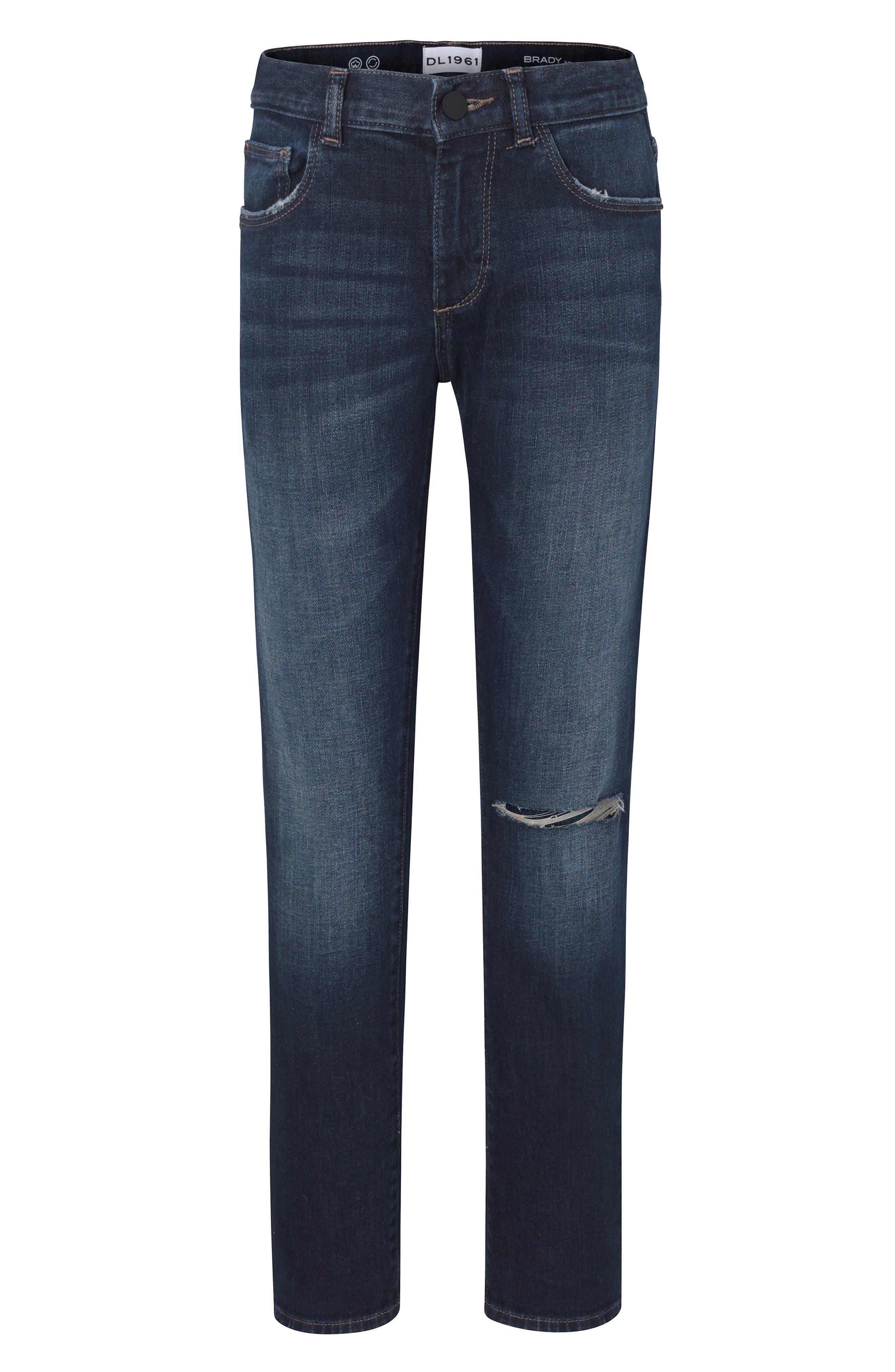 Brady Distressed Slim Fit Jeans,                             Main thumbnail 1, color,                             BLUE