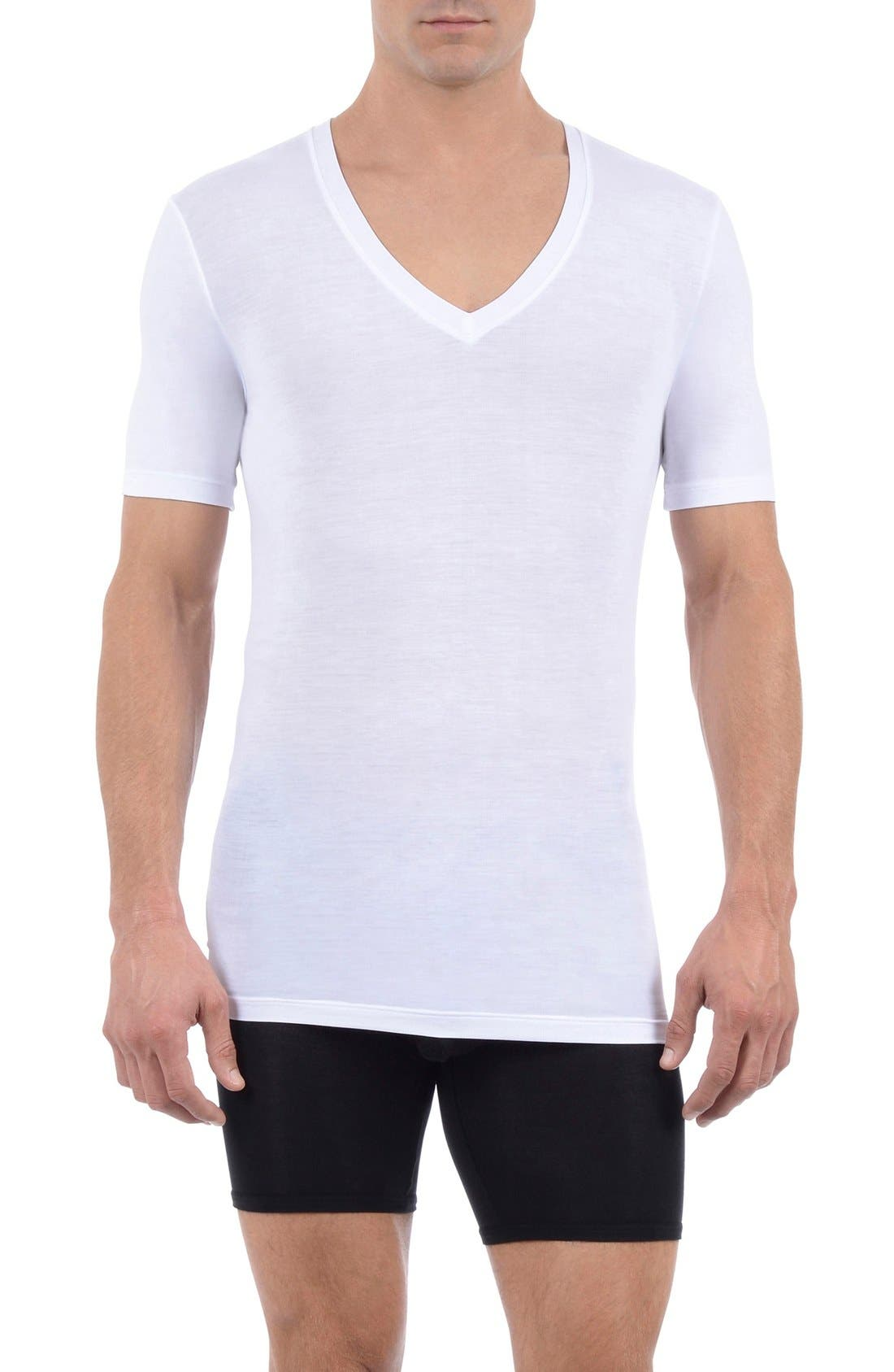 TOMMY JOHN,                             Cool Cotton Deep V-Neck Undershirt,                             Main thumbnail 1, color,                             WHITE