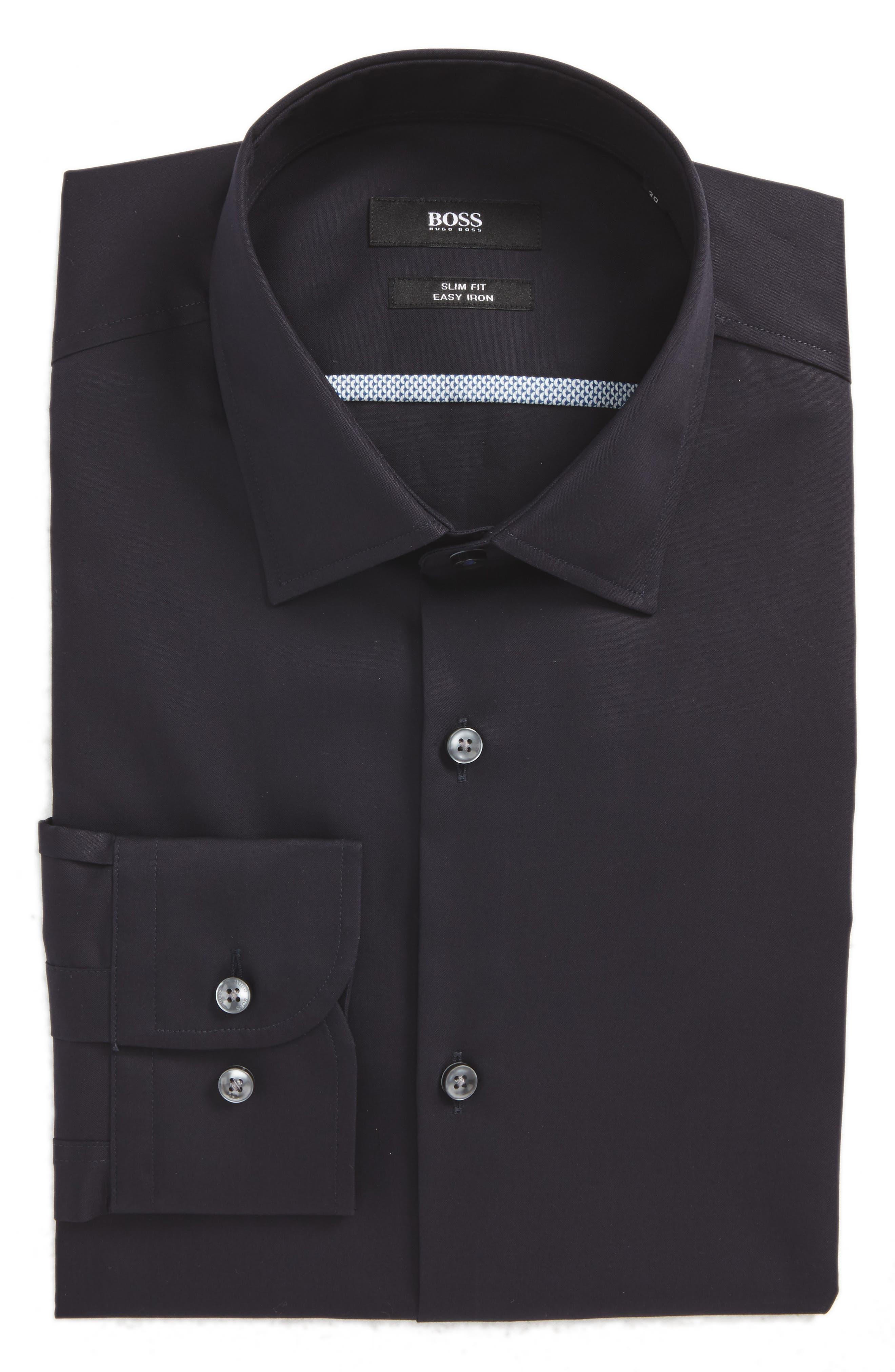 Jerris Slim Fit Easy Iron Solid Dress Shirt,                             Main thumbnail 1, color,
