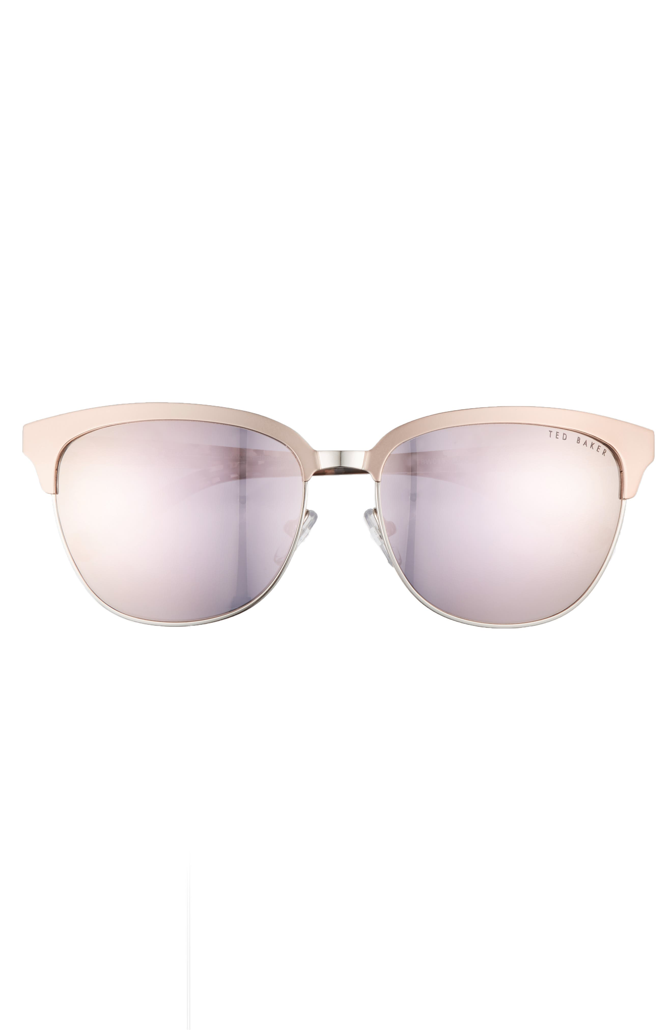 57mm Mirrored Sunglasses,                             Alternate thumbnail 3, color,                             ROSE GOLD