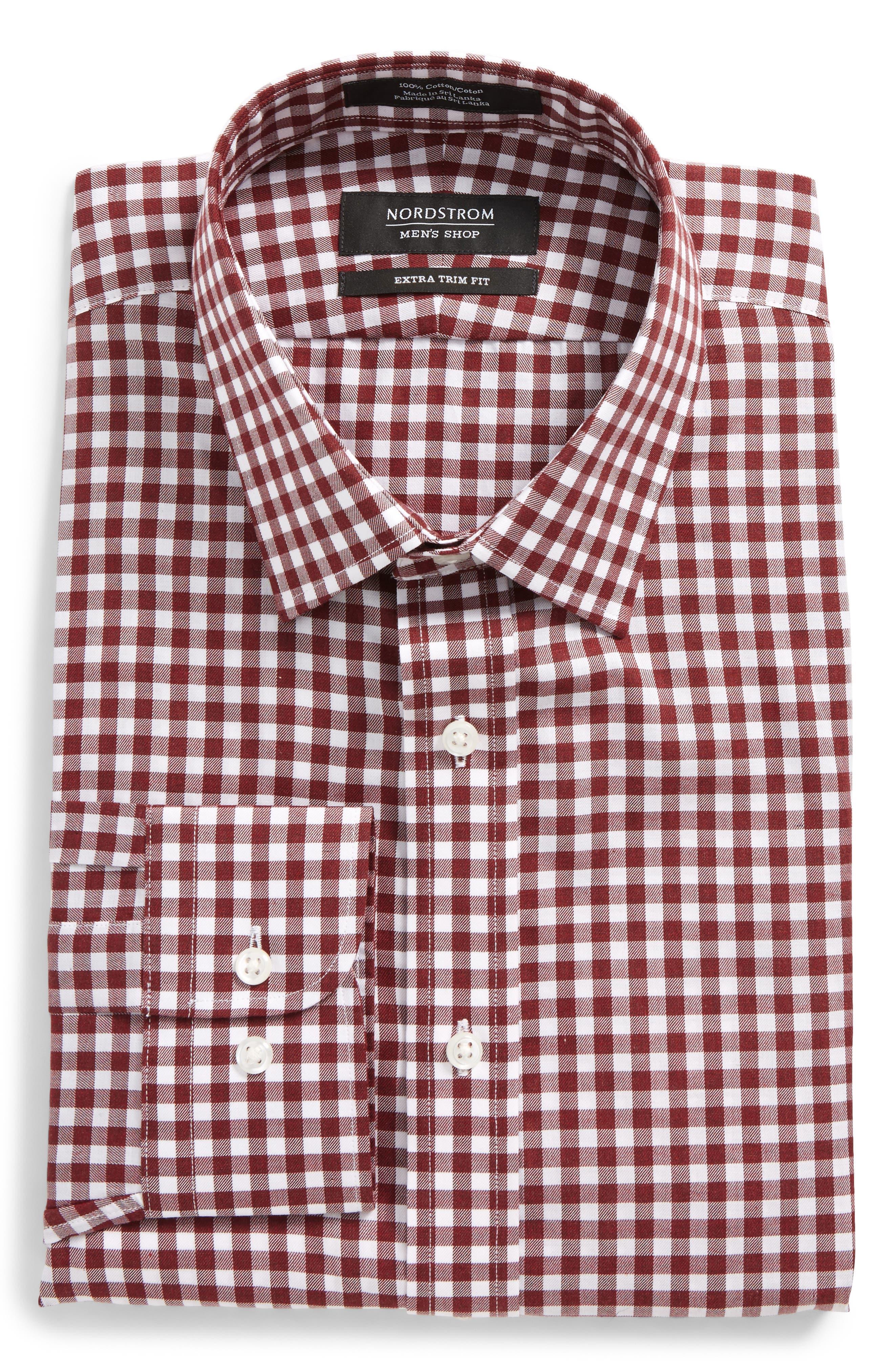 Extra Trim Fit Check Dress Shirt,                         Main,                         color, 601