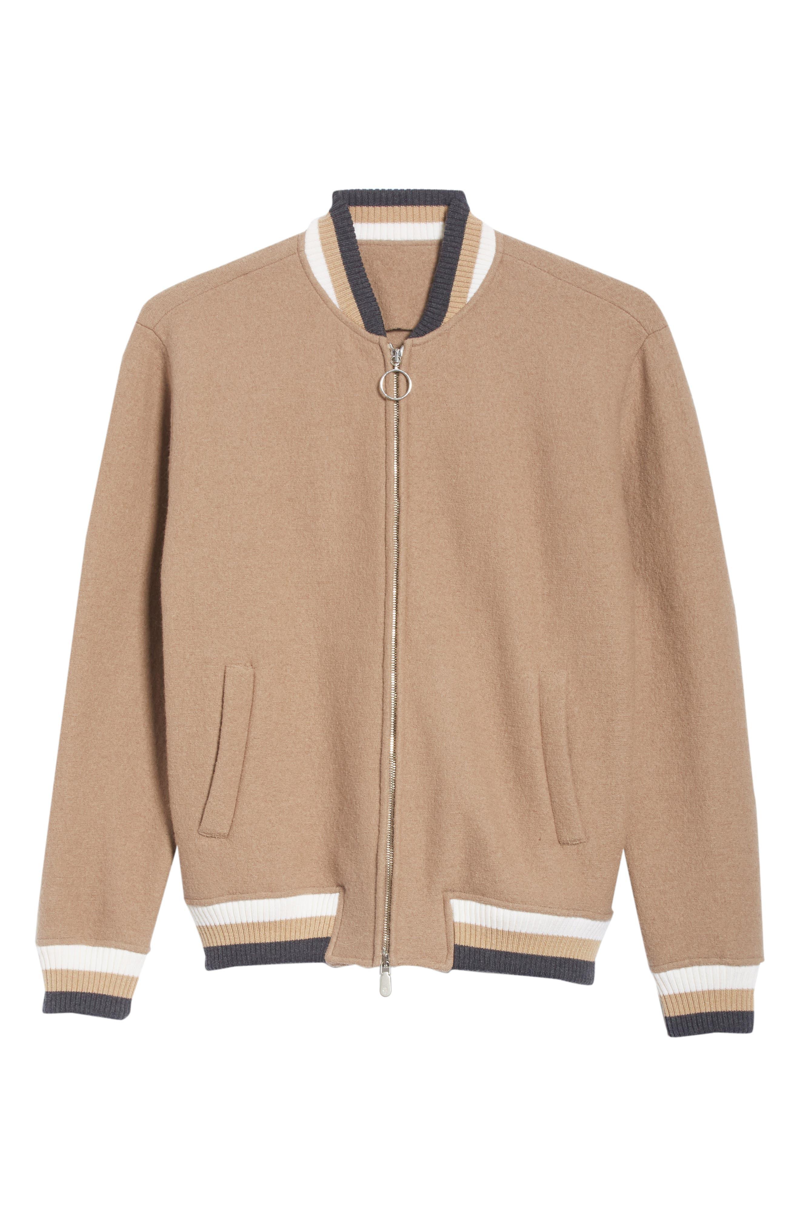 Wool Bomber Jacket,                             Alternate thumbnail 5, color,                             CAMEL