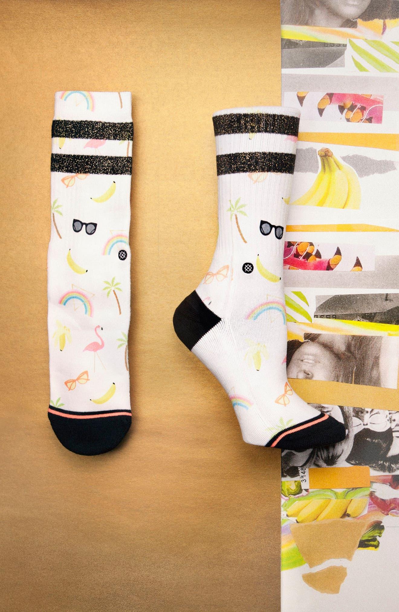 Laine Crew Socks,                             Alternate thumbnail 3, color,                             100
