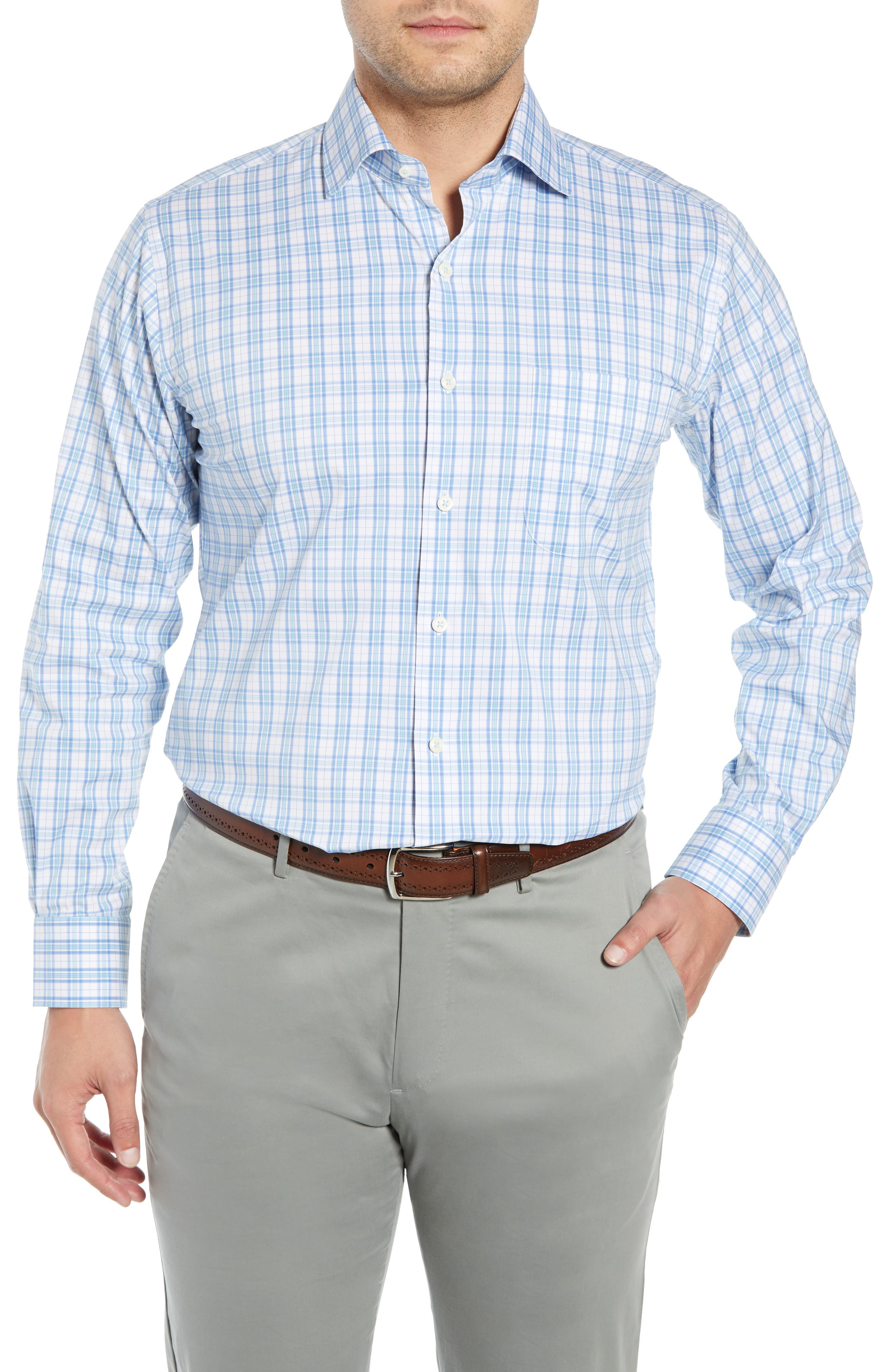 Portofino Tartan Performance Sport Shirt, Main, color, VESSEL