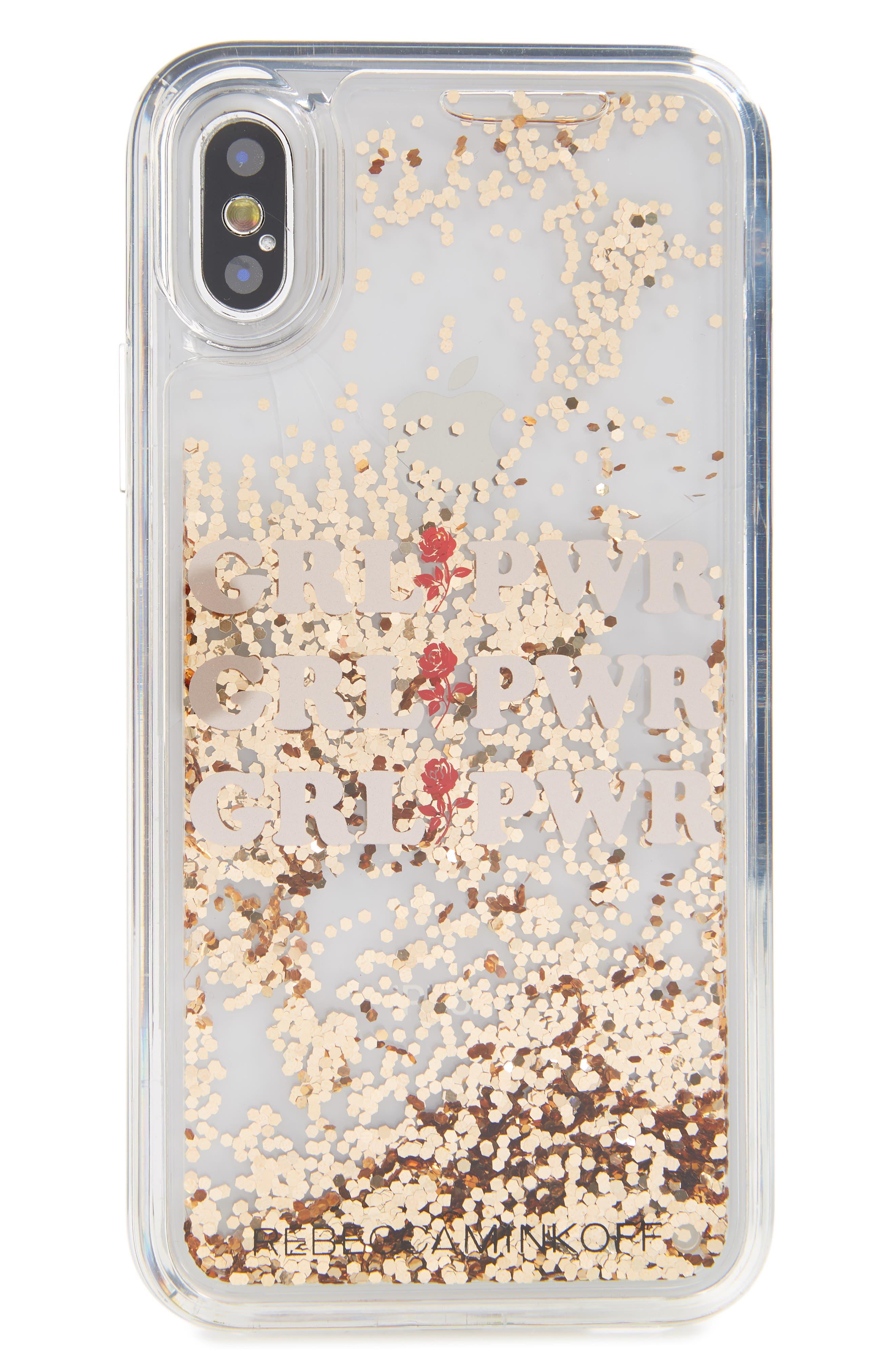 REBECCA MINKOFF,                             Grl Pwr Glitterfall iPhone X/Xs Case,                             Main thumbnail 1, color,                             650