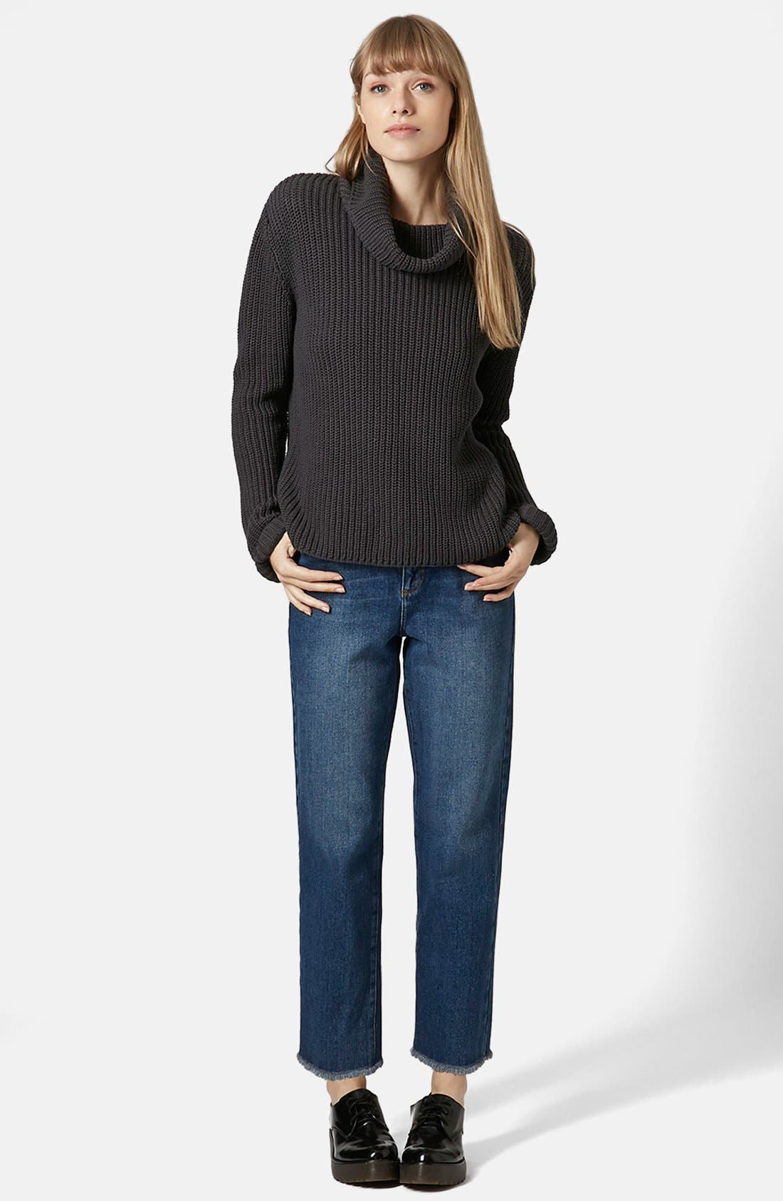 TOPSHOP BOUTIQUE,                             Roll Neck Fisherman Sweater,                             Alternate thumbnail 5, color,                             021