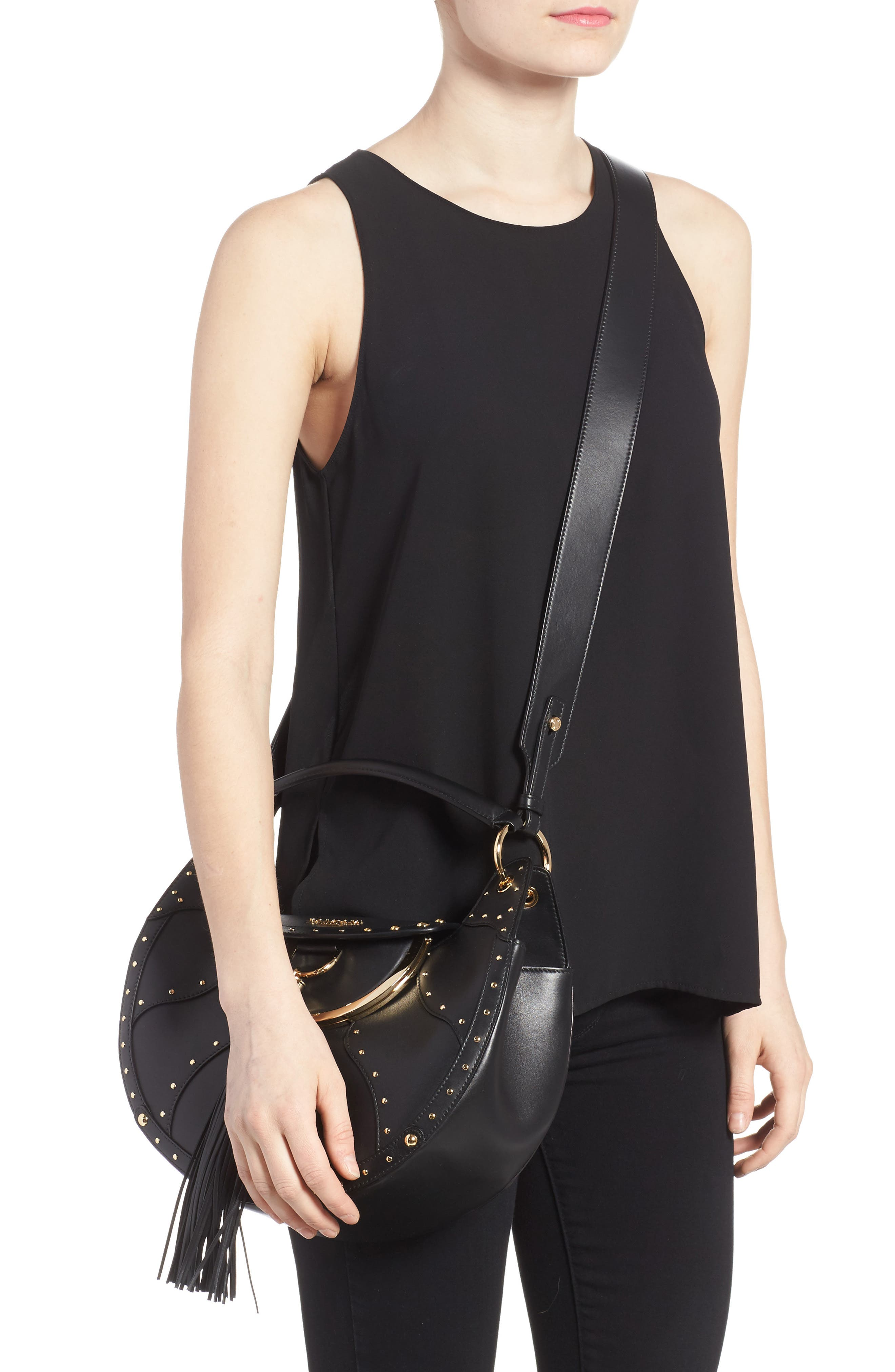 Domaine Full Moon Leather Shoulder Bag,                             Alternate thumbnail 2, color,                             001