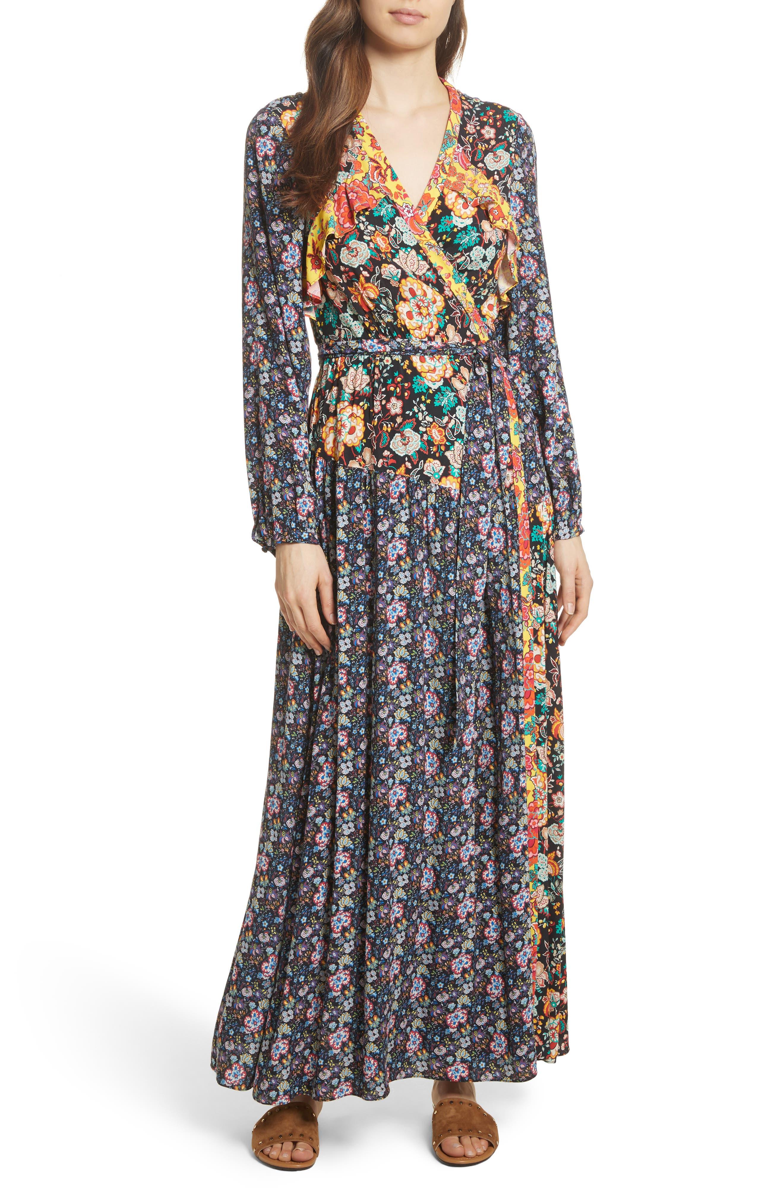 Mixed Floral Wrap Dress,                             Main thumbnail 1, color,