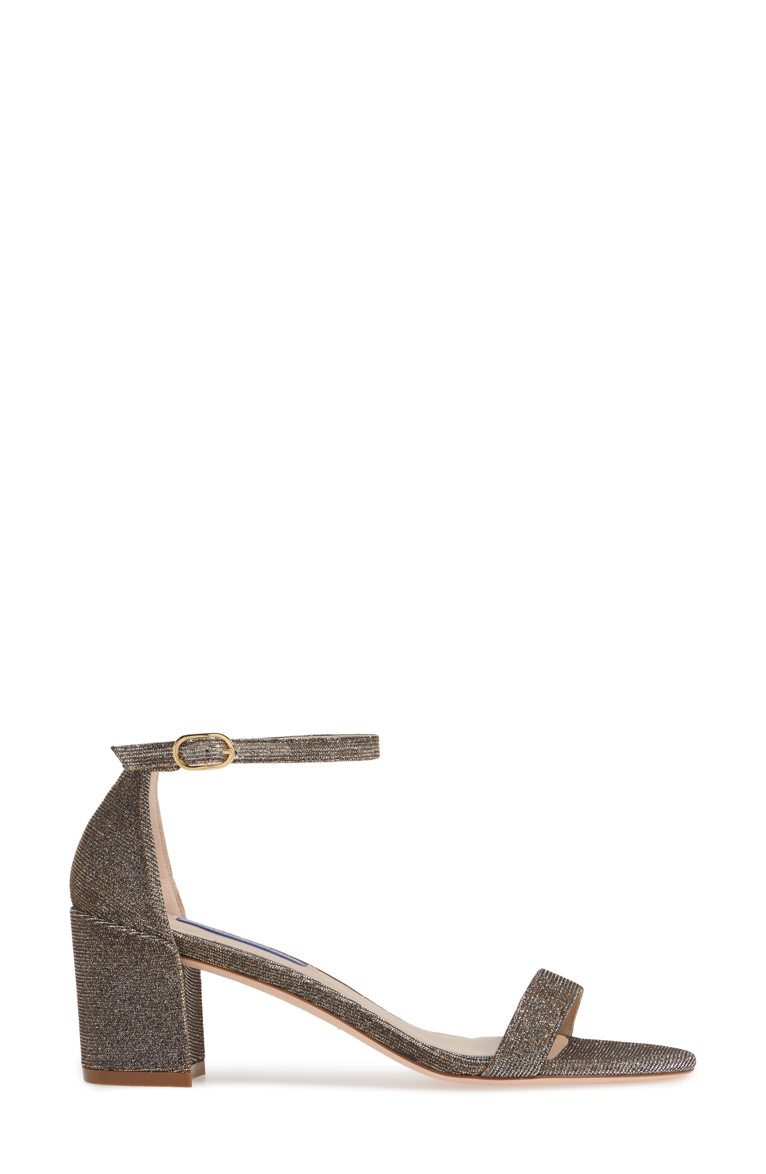 STUART WEITZMAN,                             Simple Ankle Strap Sandal,                             Alternate thumbnail 3, color,                             GOLD NIGHTTIME