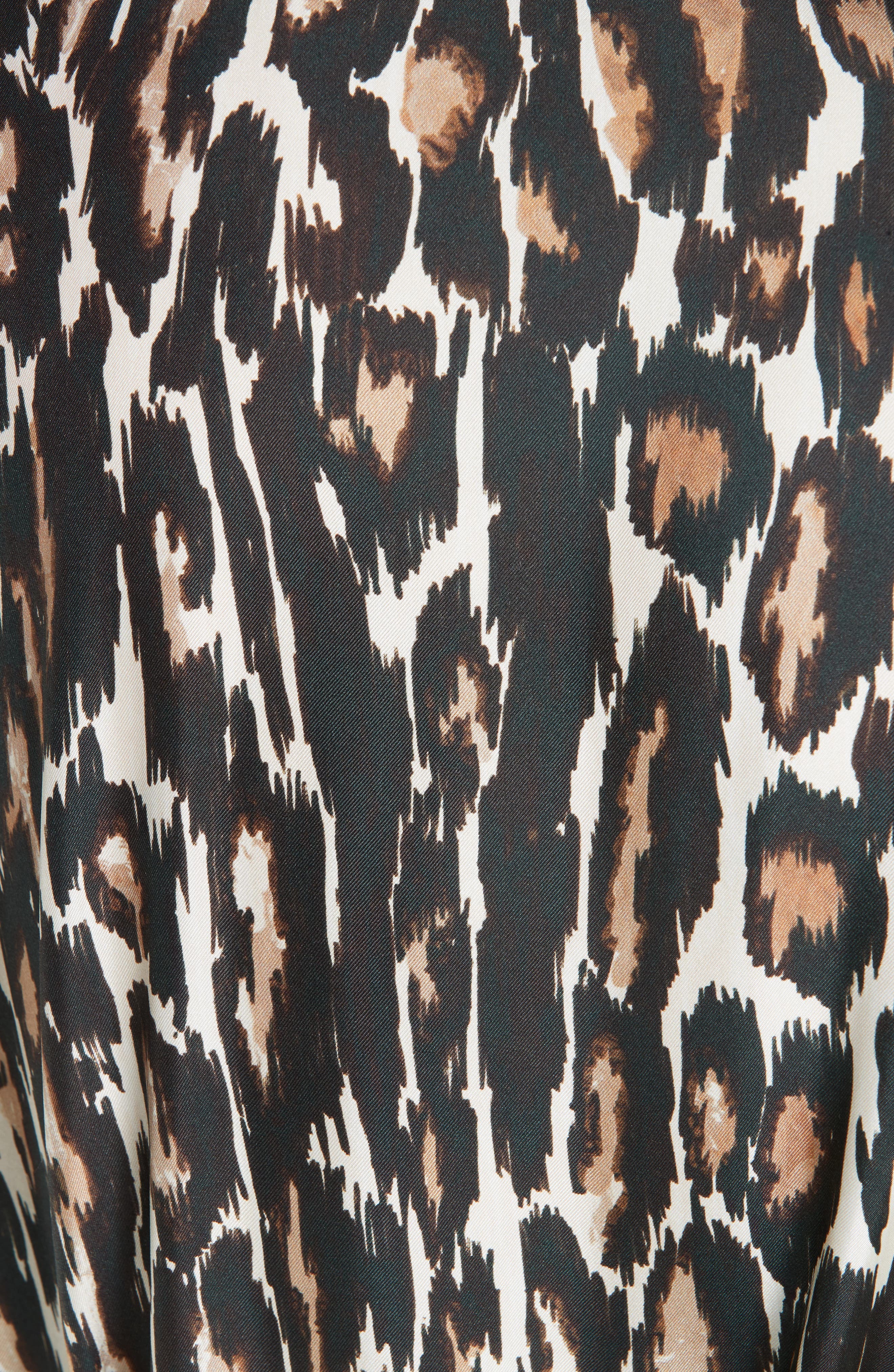 Leopard Print Silk Twill Blouse,                             Alternate thumbnail 6, color,                             IVORY BROWN BLACK BEIGE