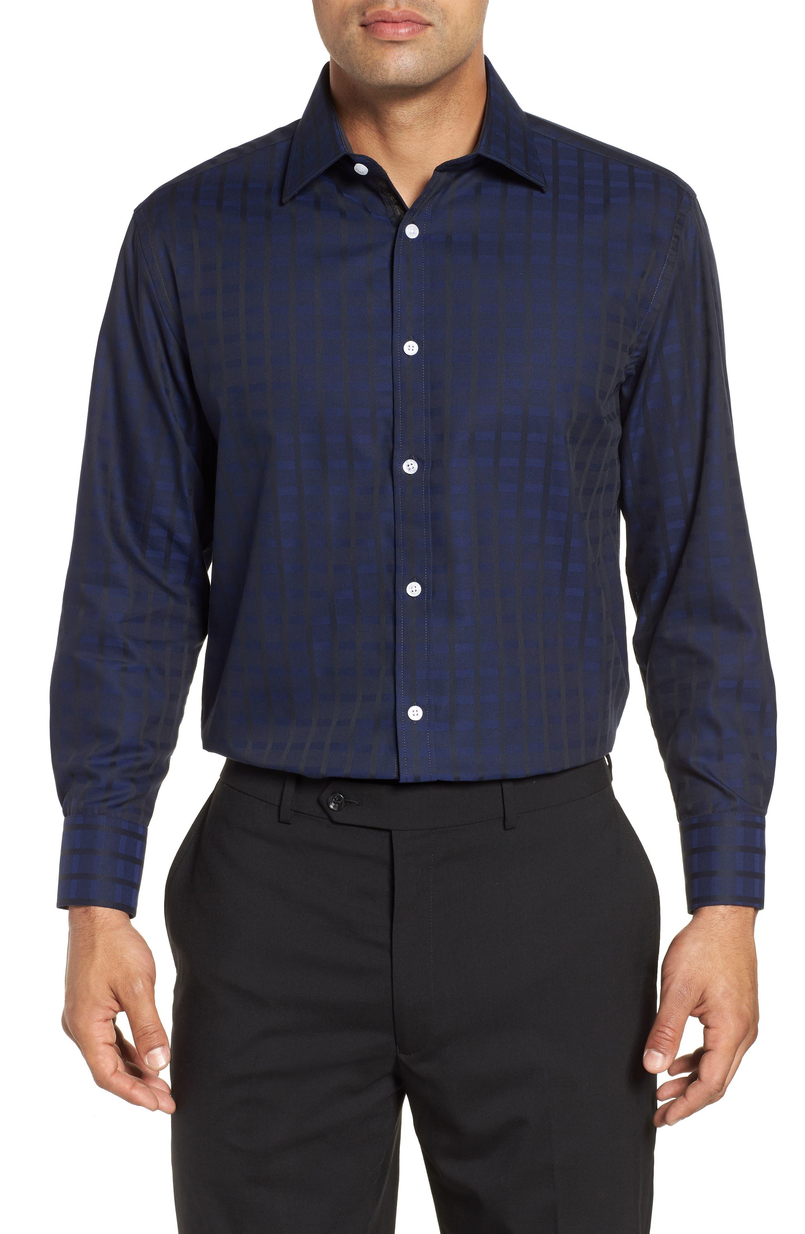 Regular Fit Check Dress Shirt,                             Main thumbnail 1, color,                             BLUE