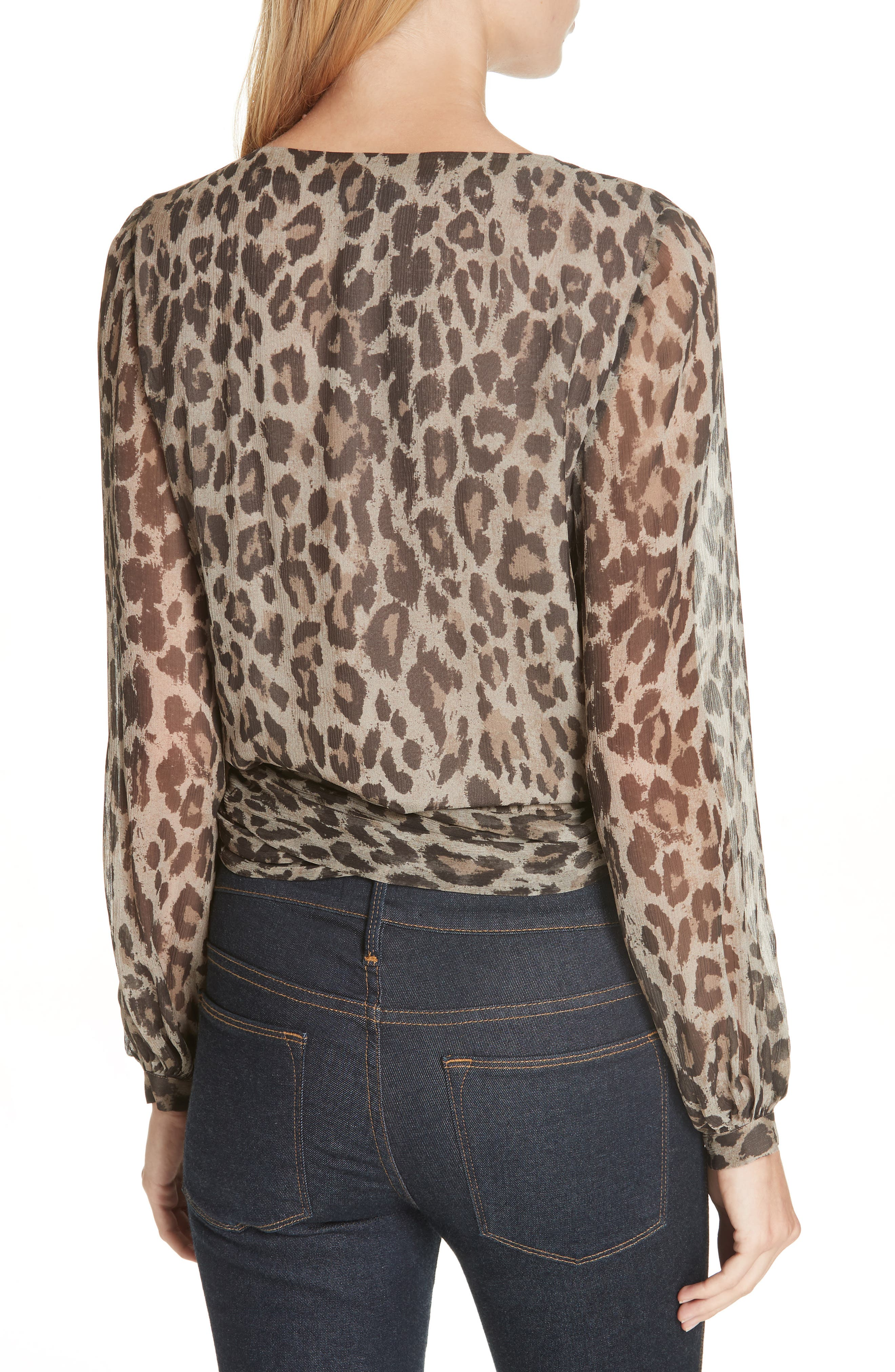 Leopard Print Silk Wrap Top,                             Alternate thumbnail 2, color,                             200