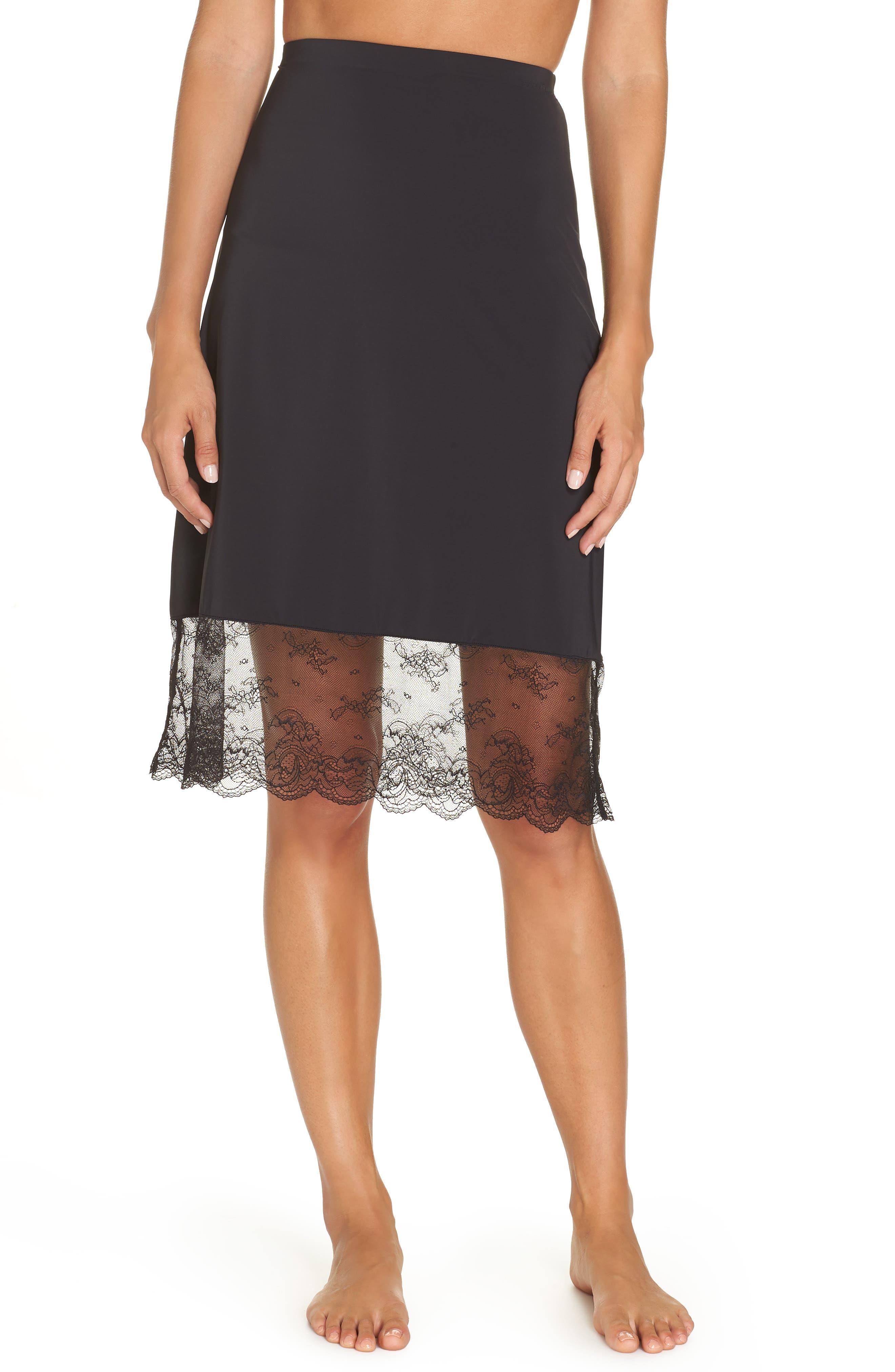Infinity Lace Trim Half Slip,                         Main,                         color, BLACK