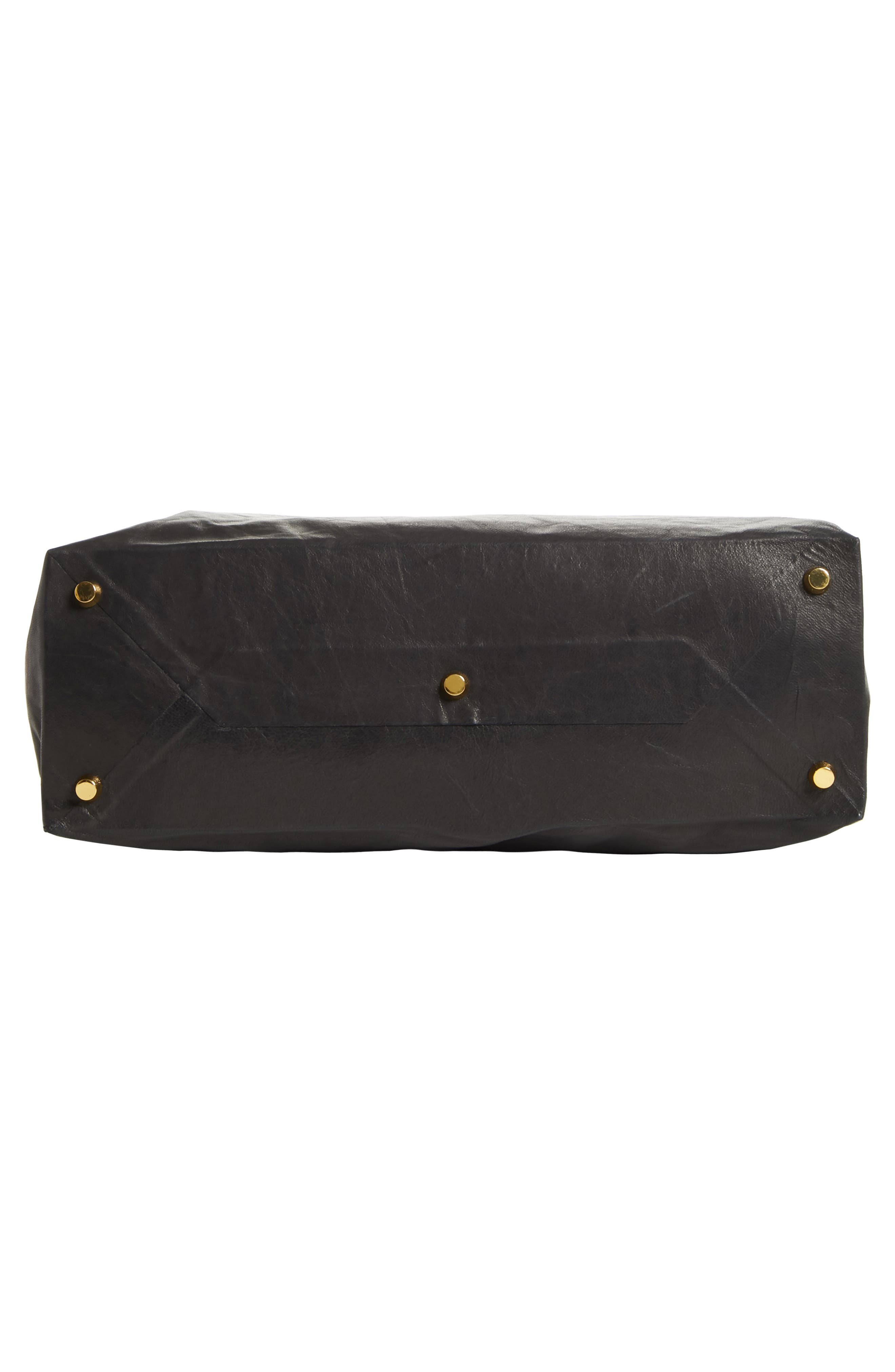 Lunchbag Leather Roll Top Clutch,                             Alternate thumbnail 6, color,                             BLACK