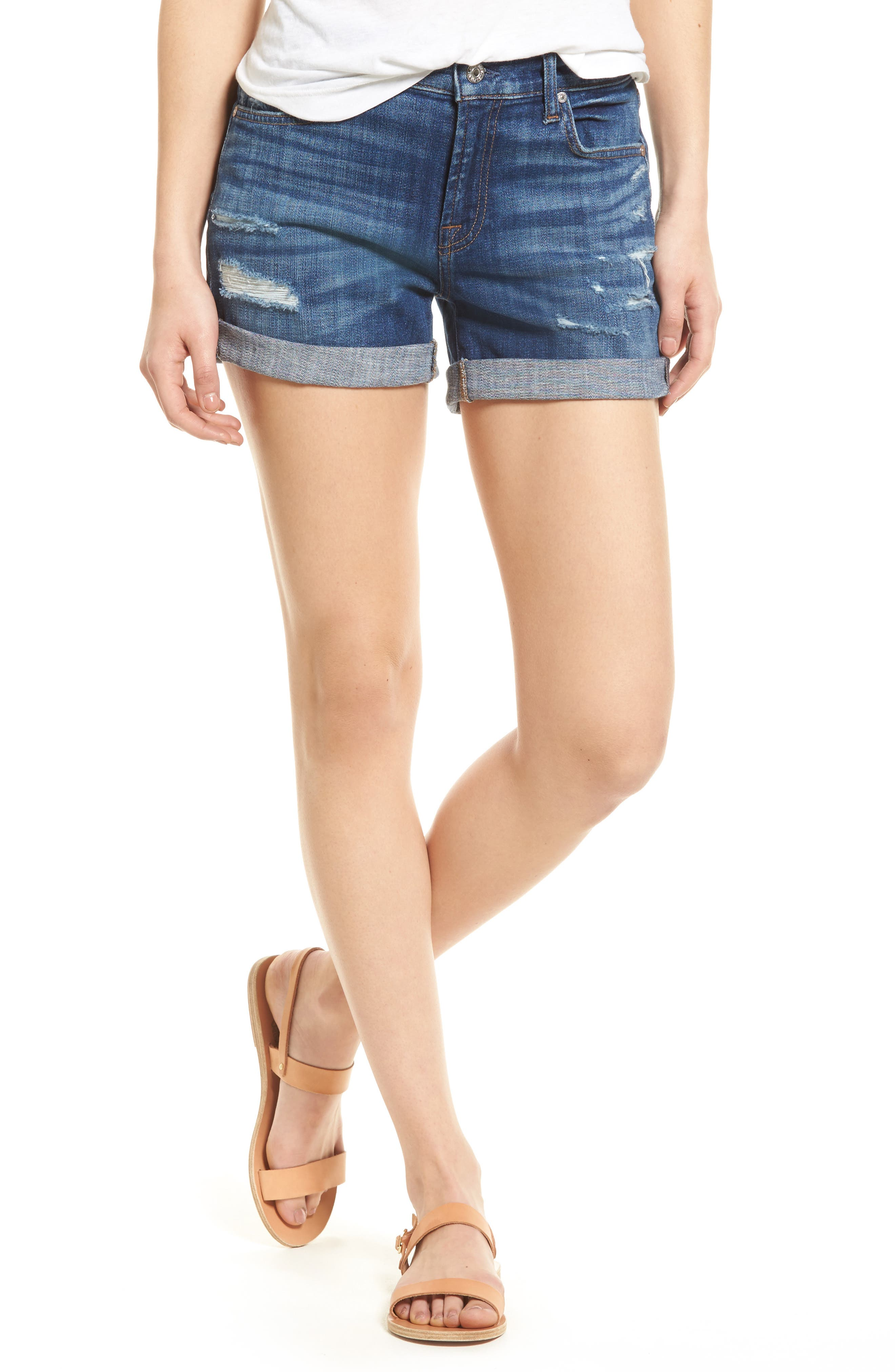 Roll Cuff Denim Shorts,                         Main,                         color, BROKE TWILLS DESERT TRAILS 2