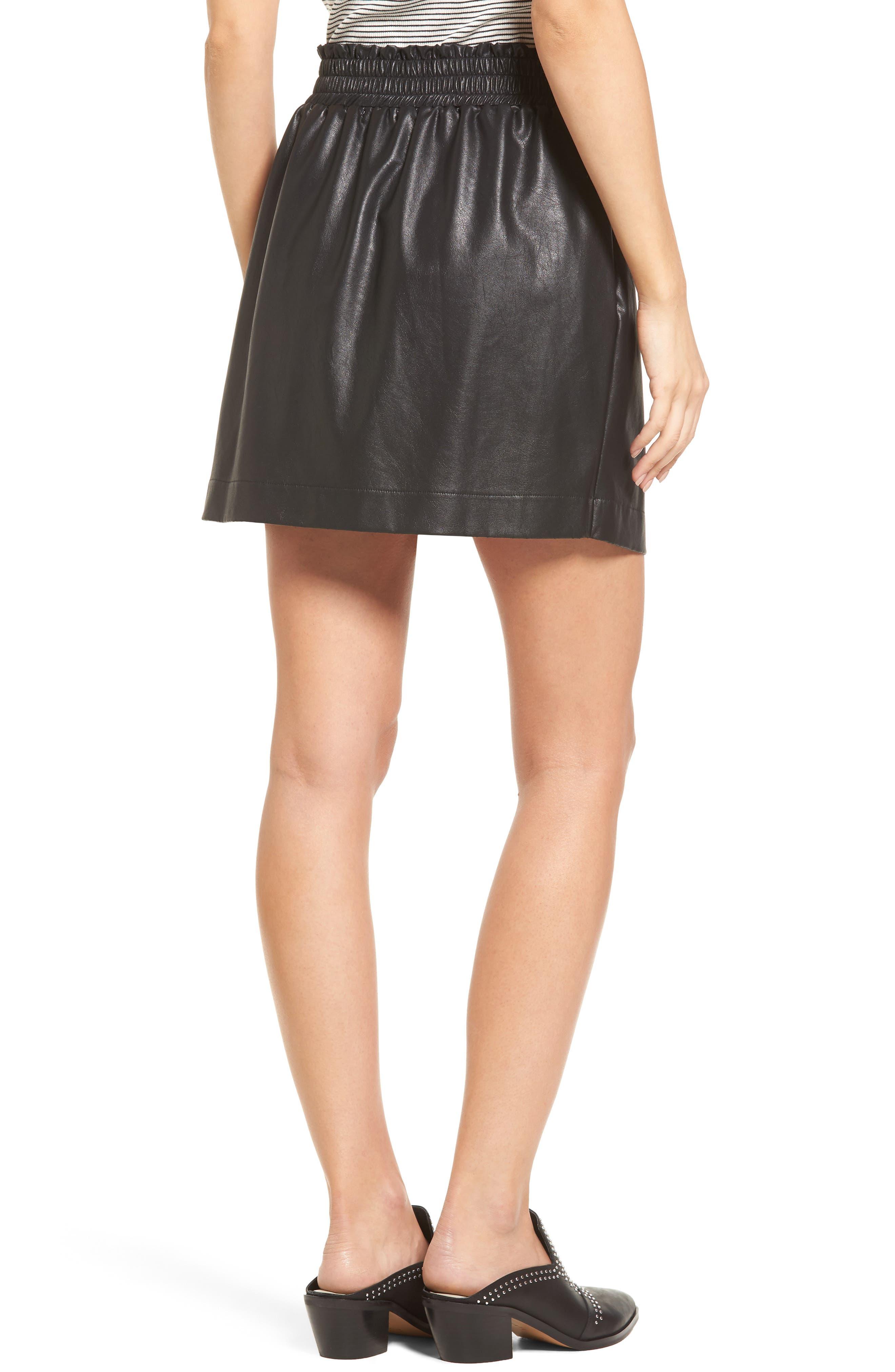 Faux Leather Paperbag Skirt,                             Alternate thumbnail 2, color,                             001
