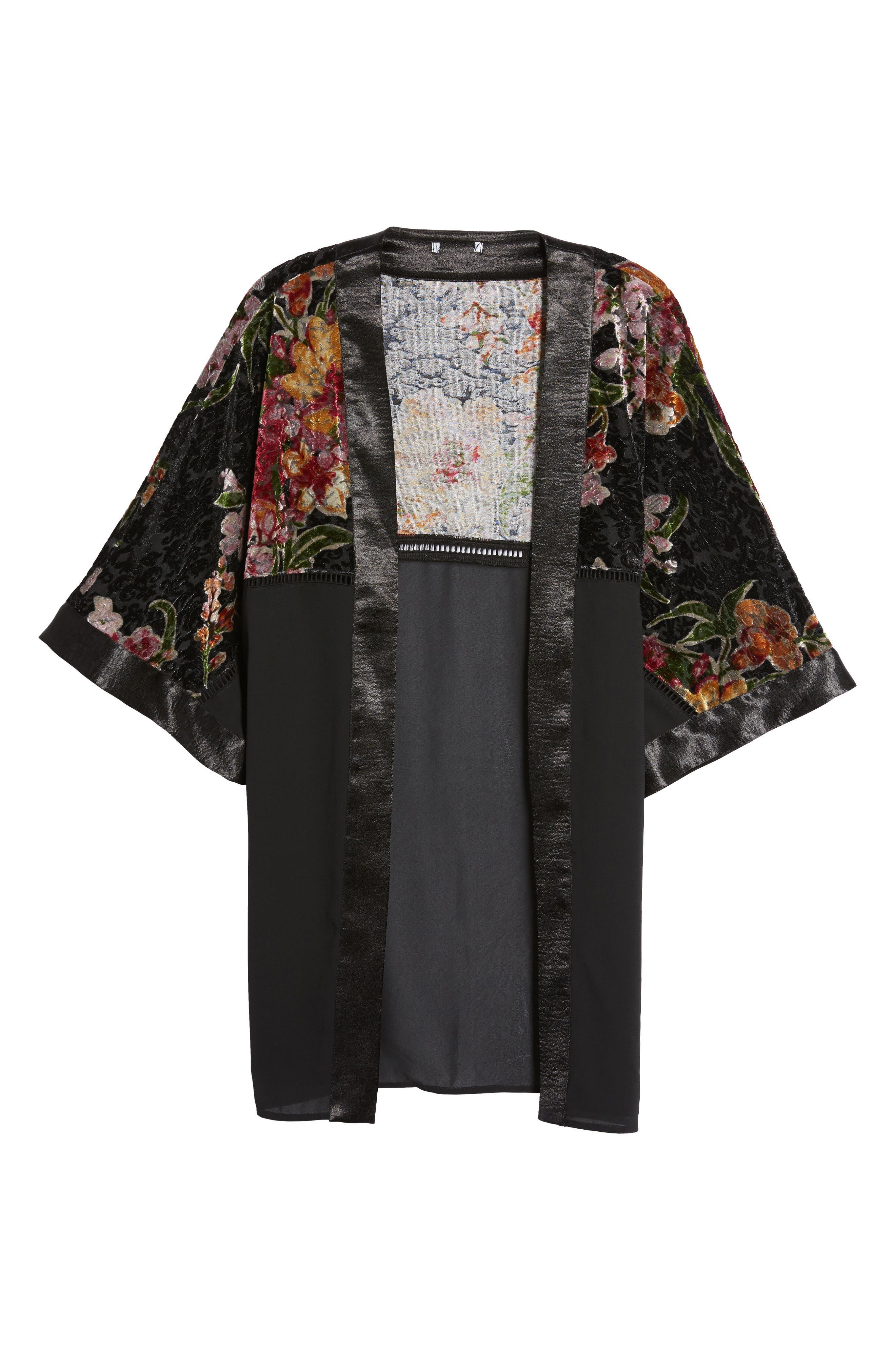Burnout Floral Kimono,                             Alternate thumbnail 6, color,                             001