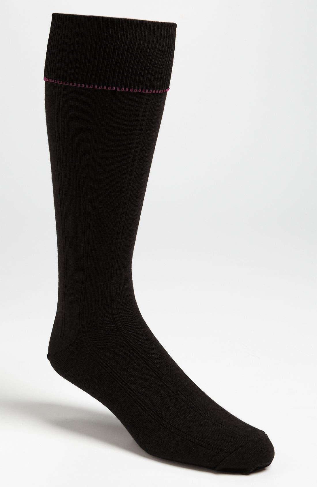 Nordstrom Mens Shop Over the Calf Wool Socks,                             Main thumbnail 1, color,                             BLACK