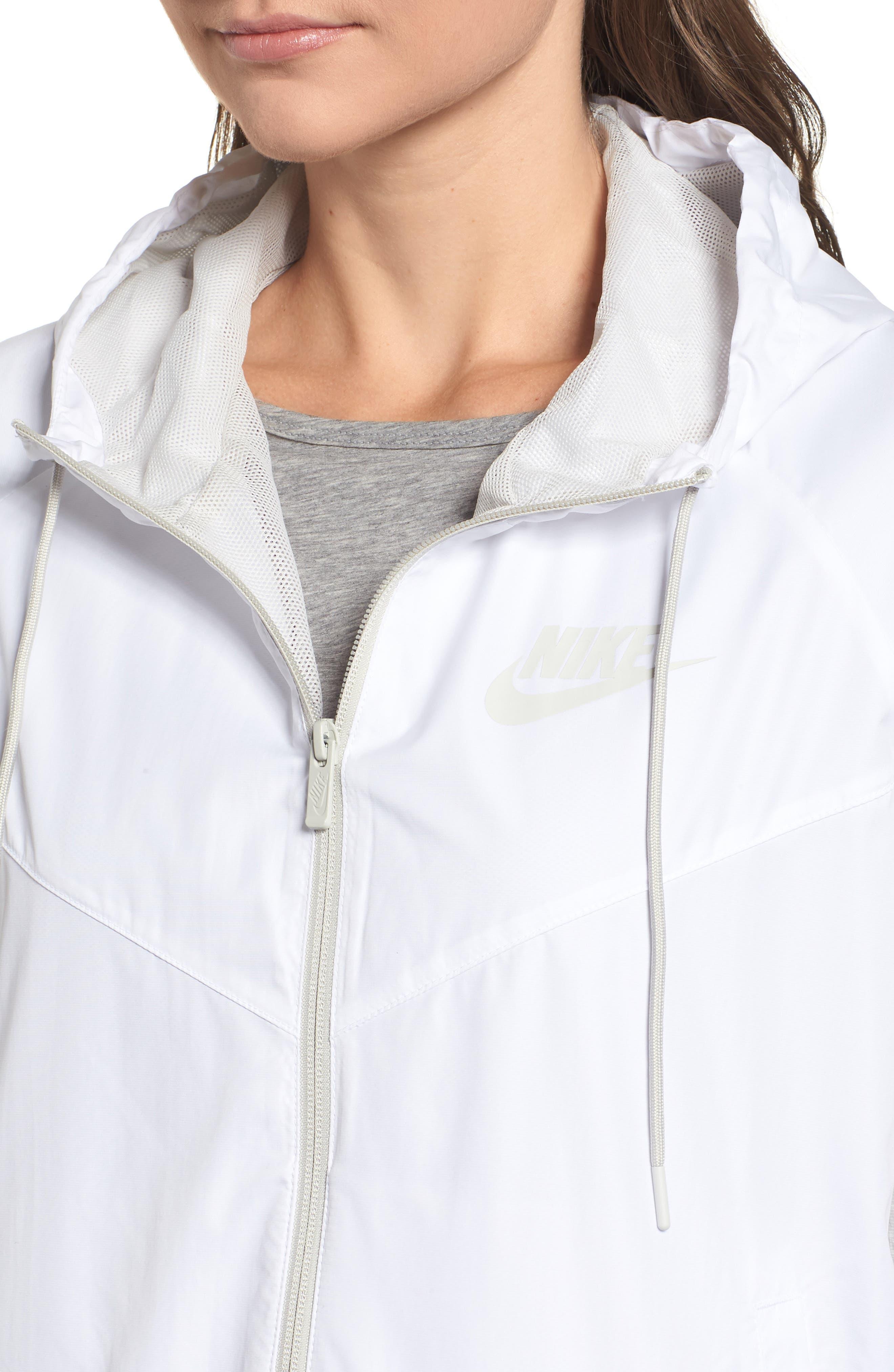 Sportswear Women's Windrunner Water Repellent Jacket,                             Alternate thumbnail 6, color,                             WHITE/ LIGHT BONE/ LIGHT BONE