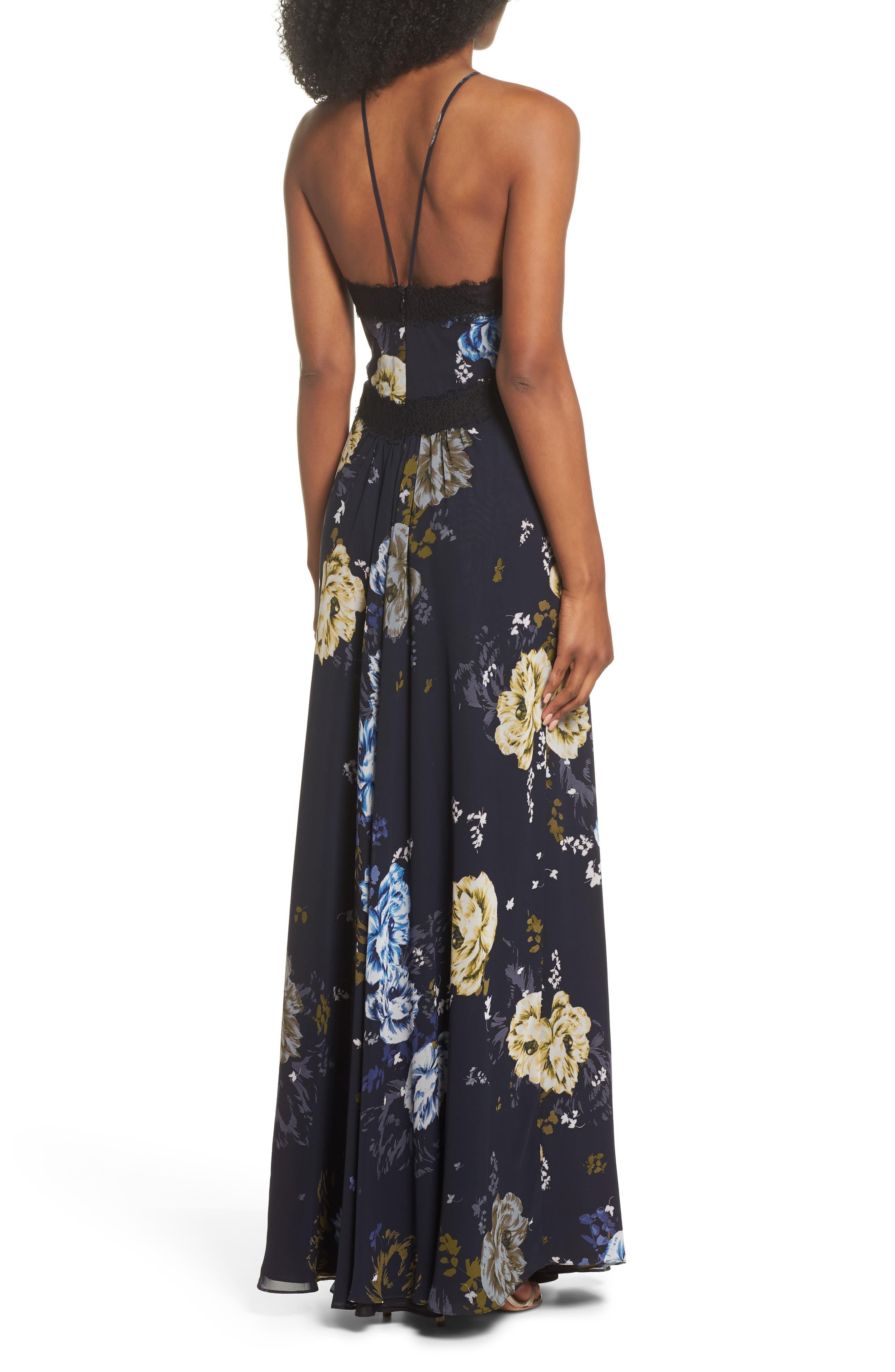 Lace Trim Cutout Gown,                             Alternate thumbnail 2, color,