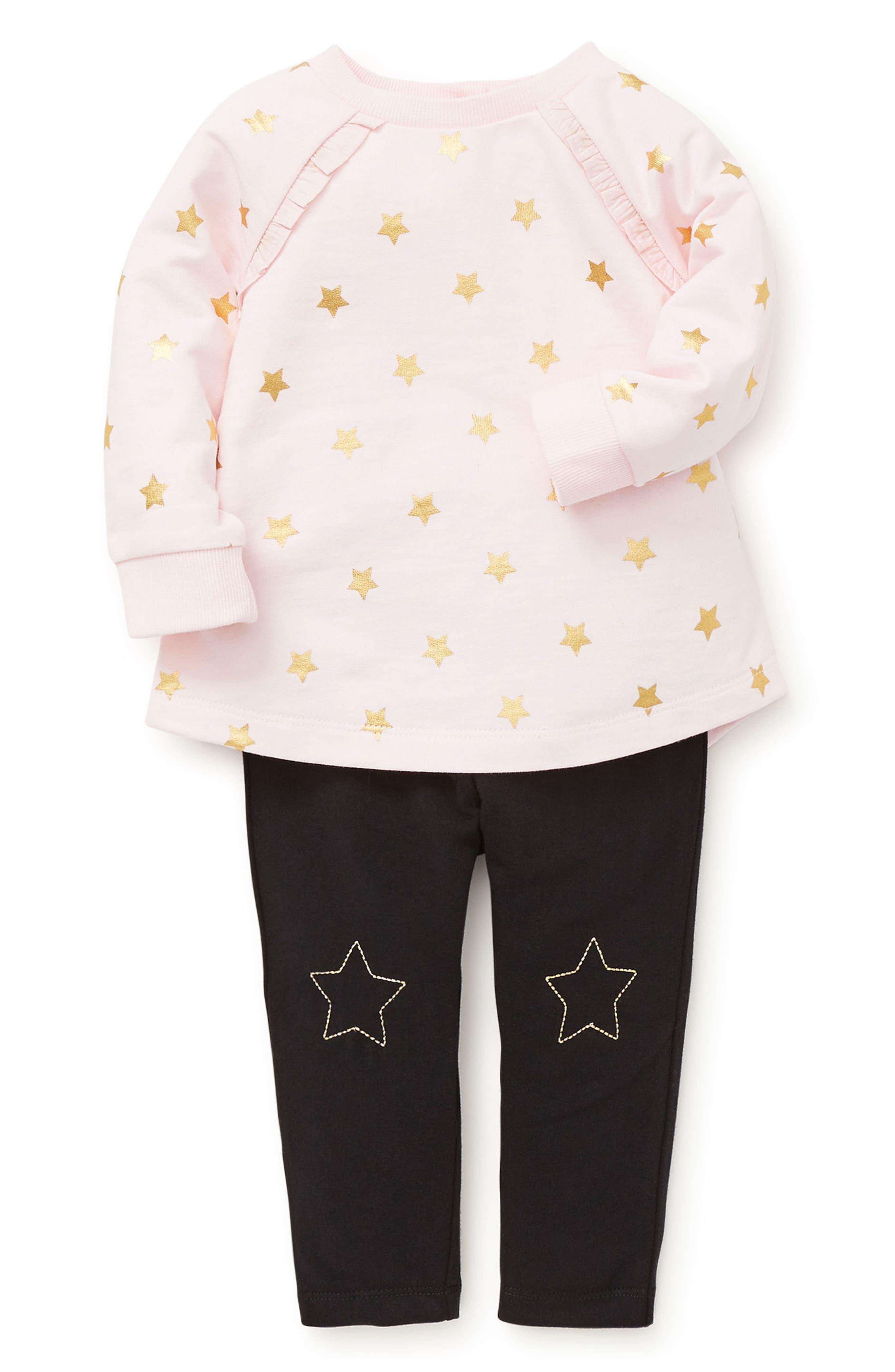 Star Ruffle Sweatshirt & Leggings Set,                         Main,                         color, BLACK MULTI