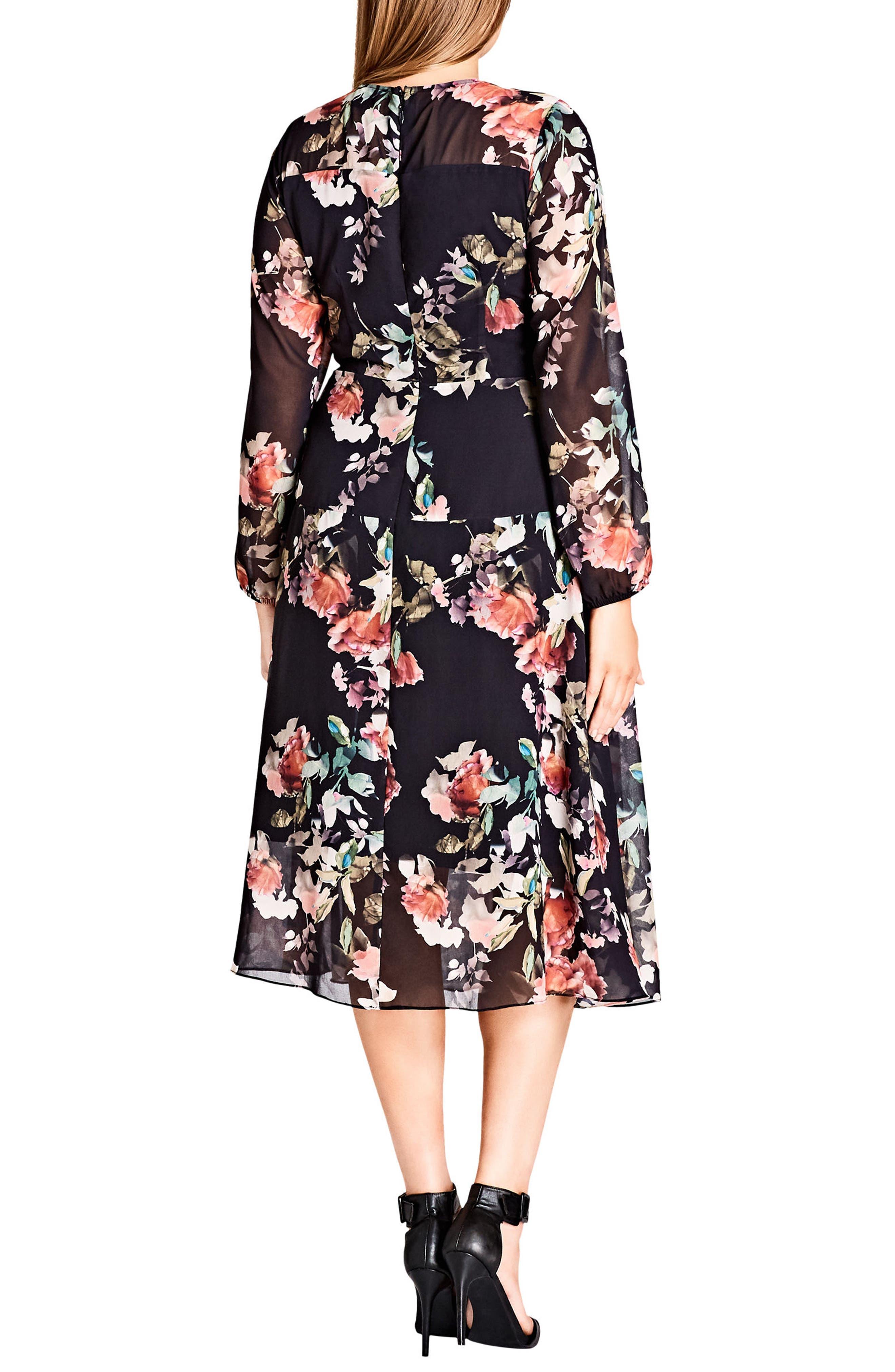 CITY CHIC,                             Sheer Divine Floral Print Midi Dress,                             Alternate thumbnail 2, color,                             001